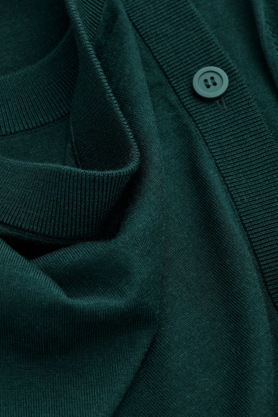 Side image of Cos button-up merino wool dress in green