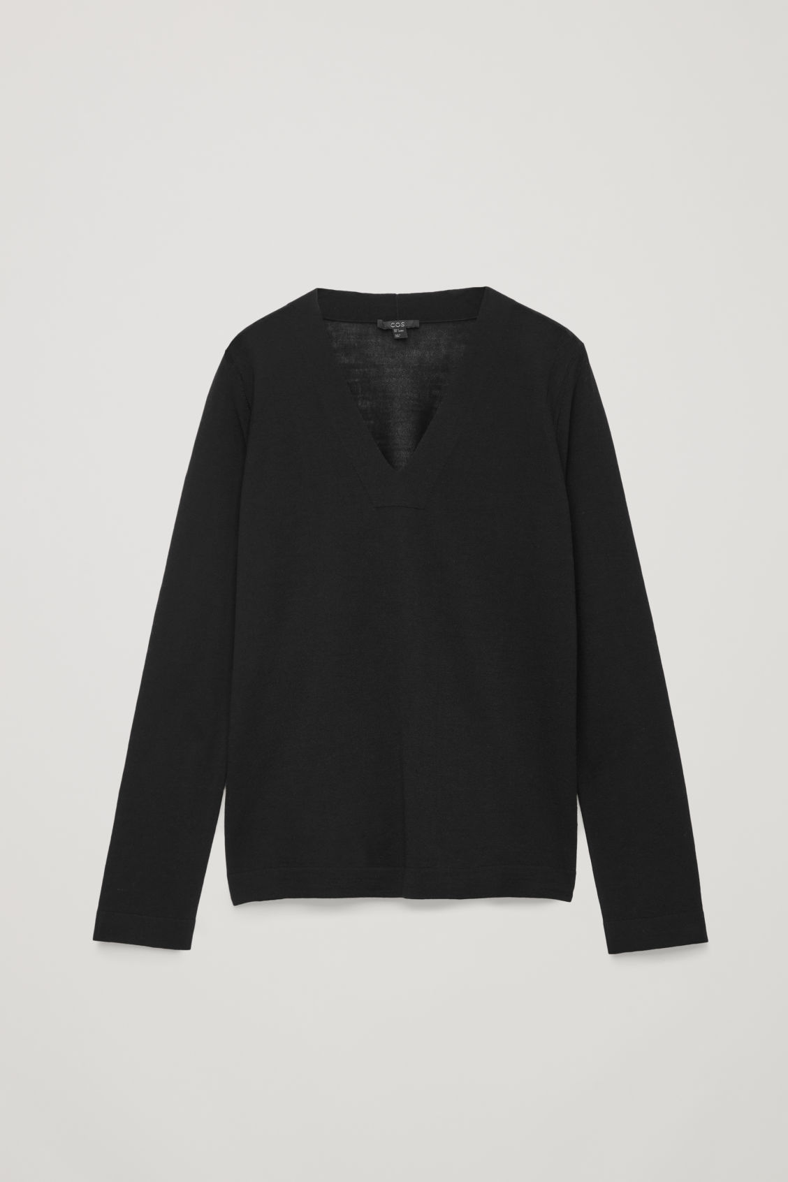 Front image of Cos merino jumper with deep v-neck in black