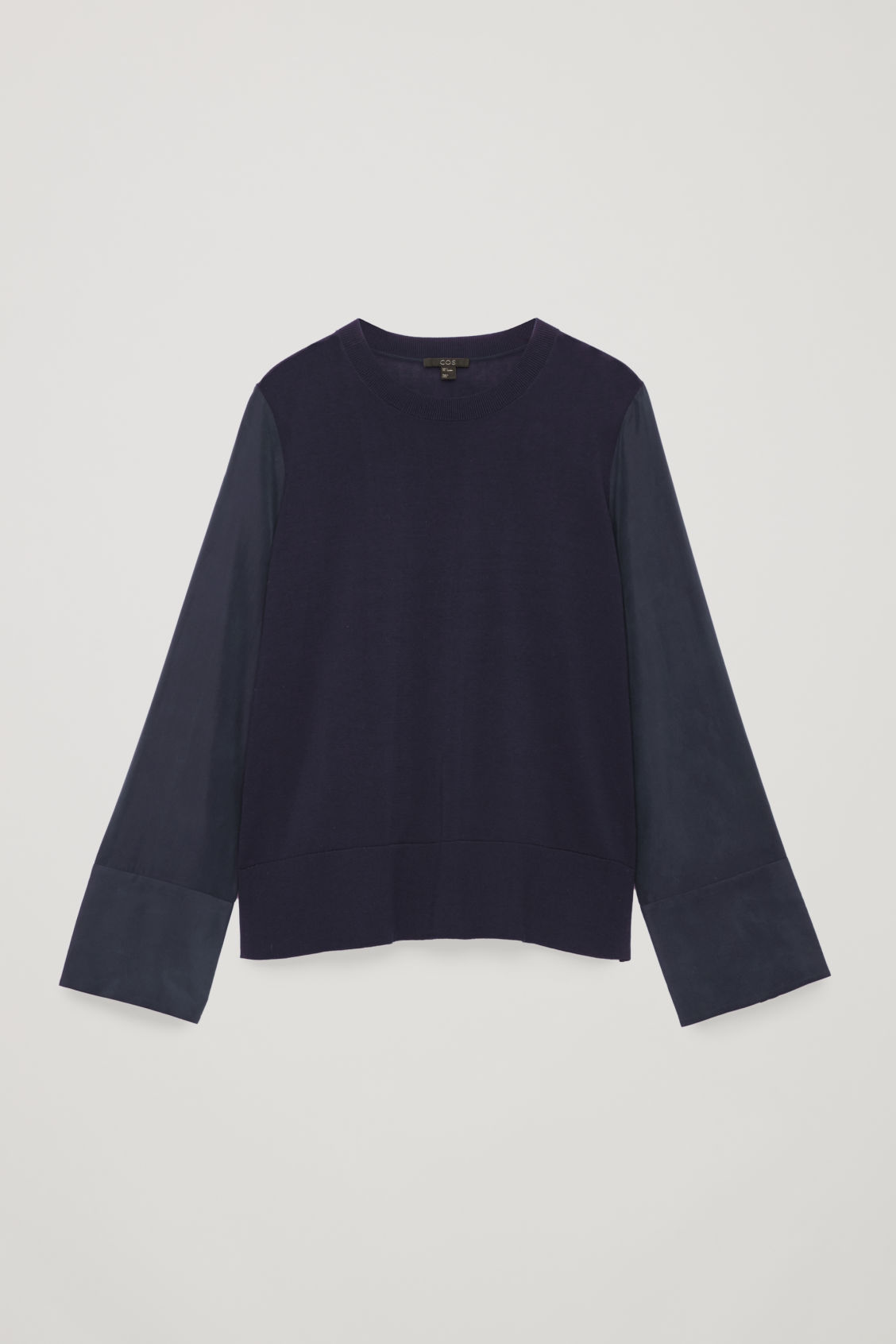 Front image of Cos silk-sleeved cotton-knit top in blue