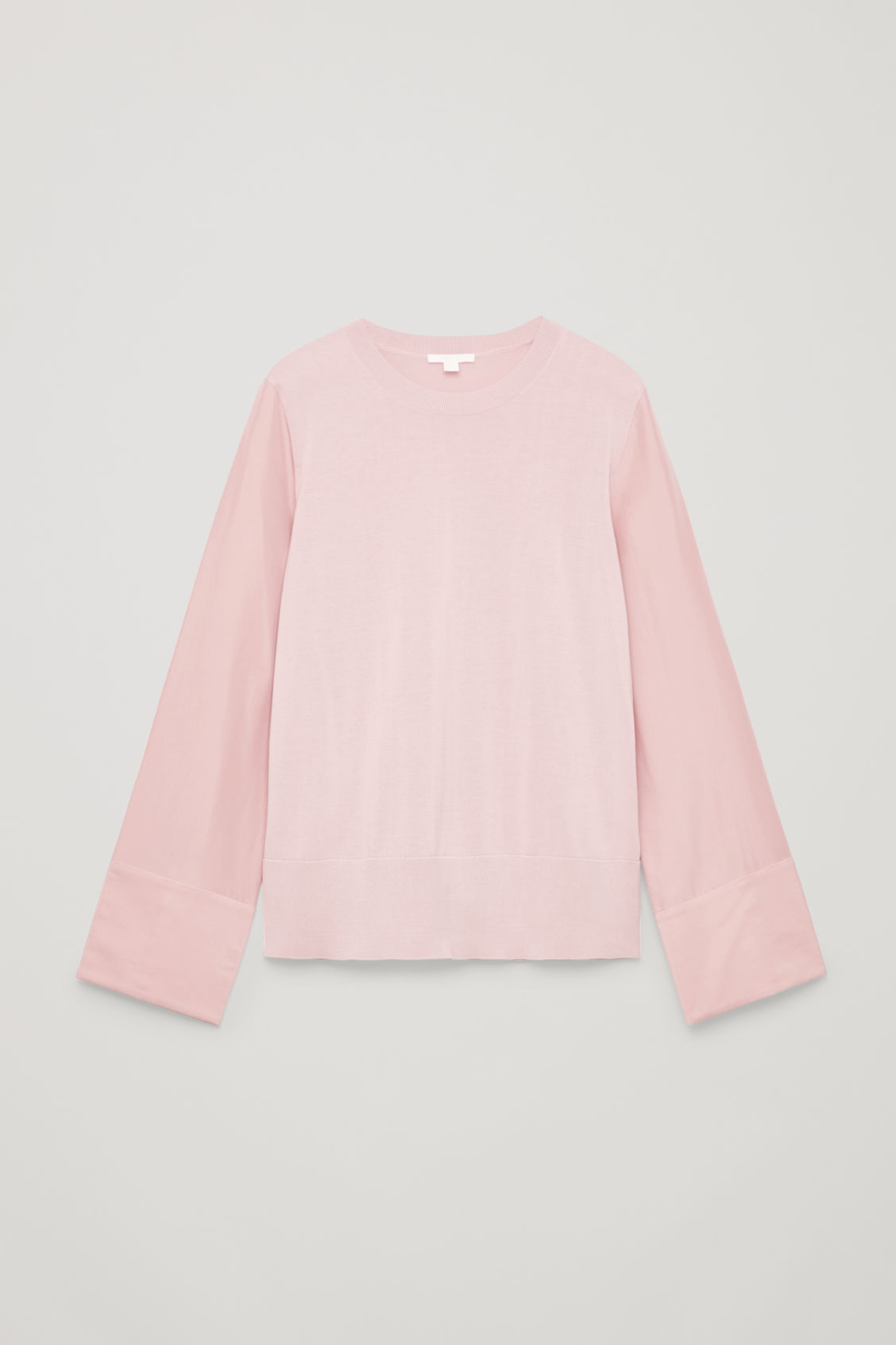 Front image of Cos silk-sleeved cotton-knit top in pink