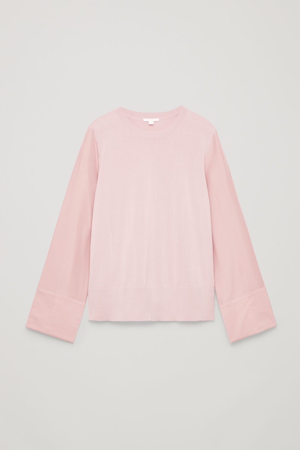 SILK-SLEEVED COTTON-KNIT TOP