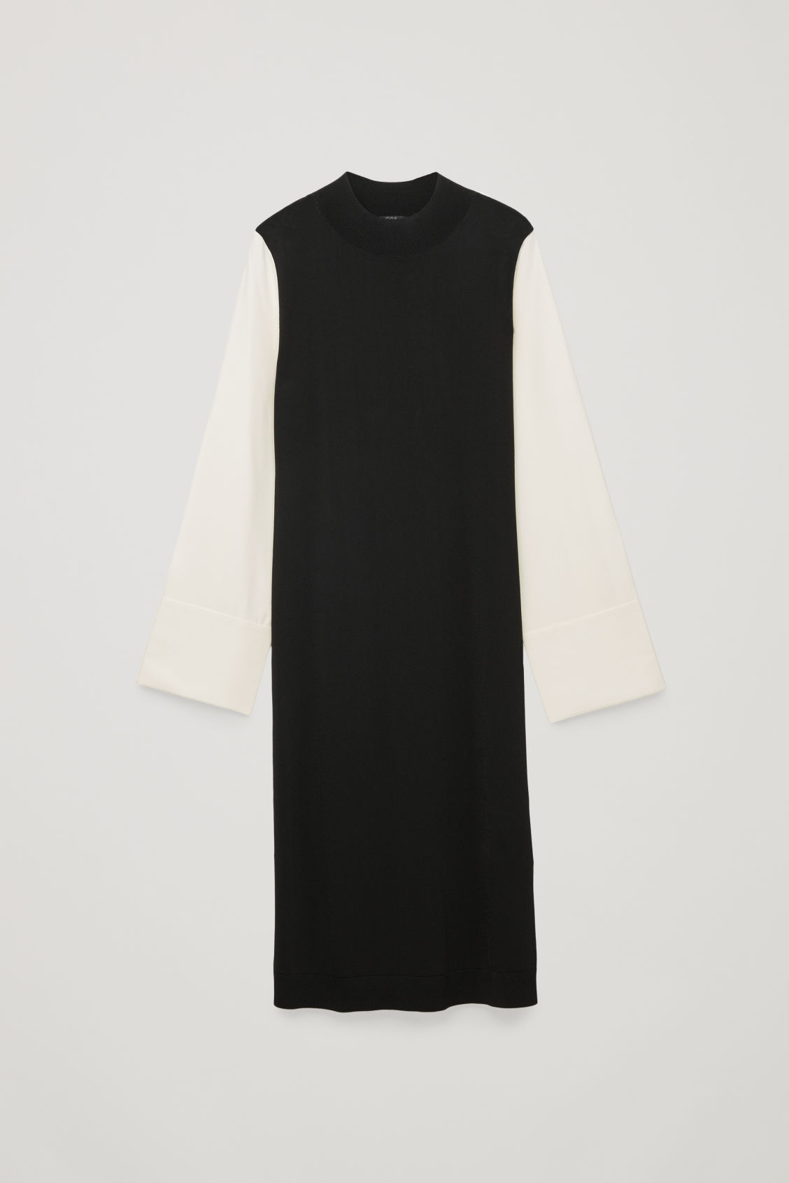 Front image of Cos silk-sleeved knit dress in black