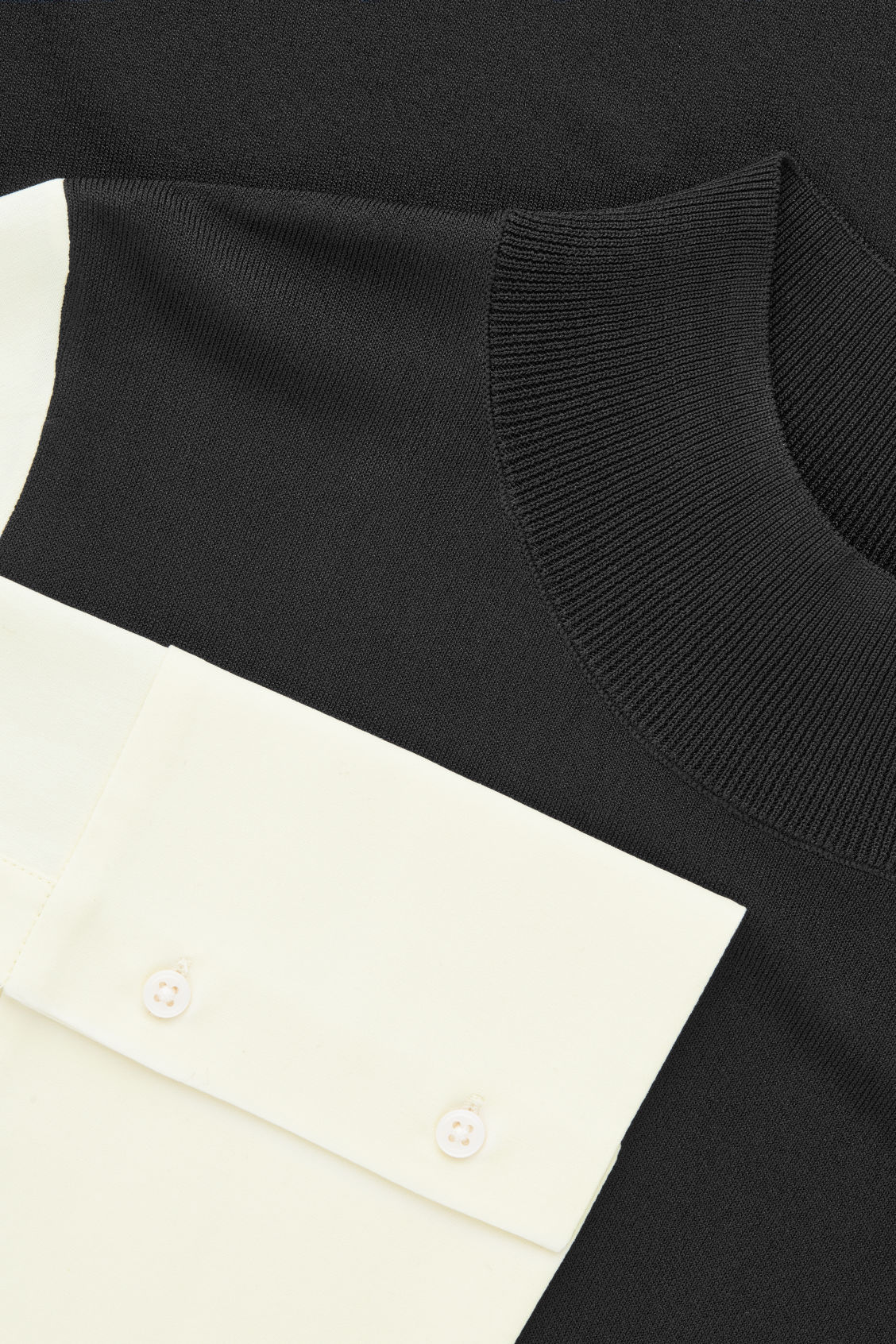 Side image of Cos silk-sleeved knit dress in black