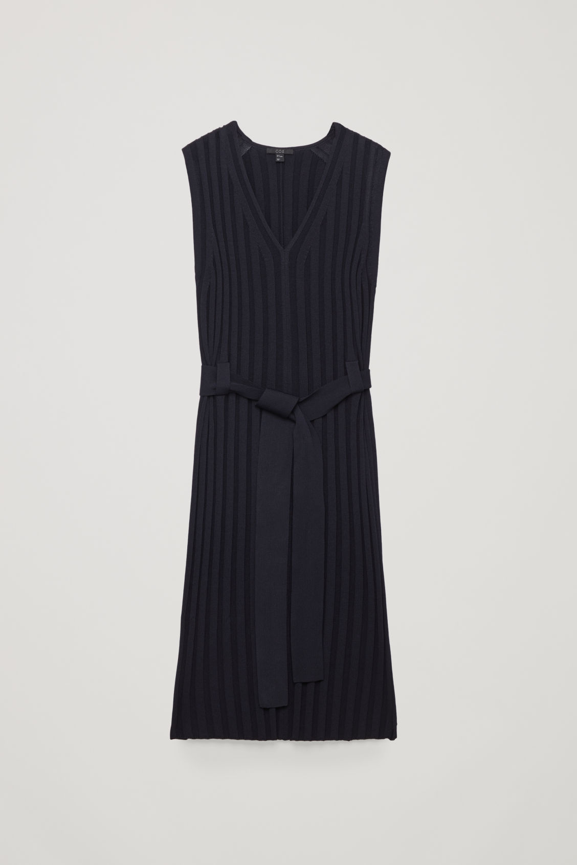 Front image of Cos sleeveless ribbed dress in blue