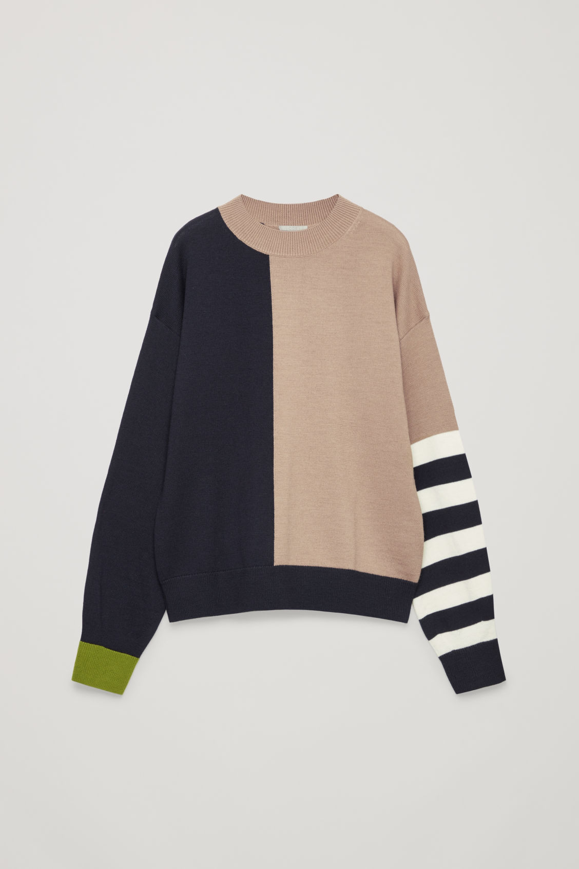 Front image of Cos colour-block wool jumper in beige