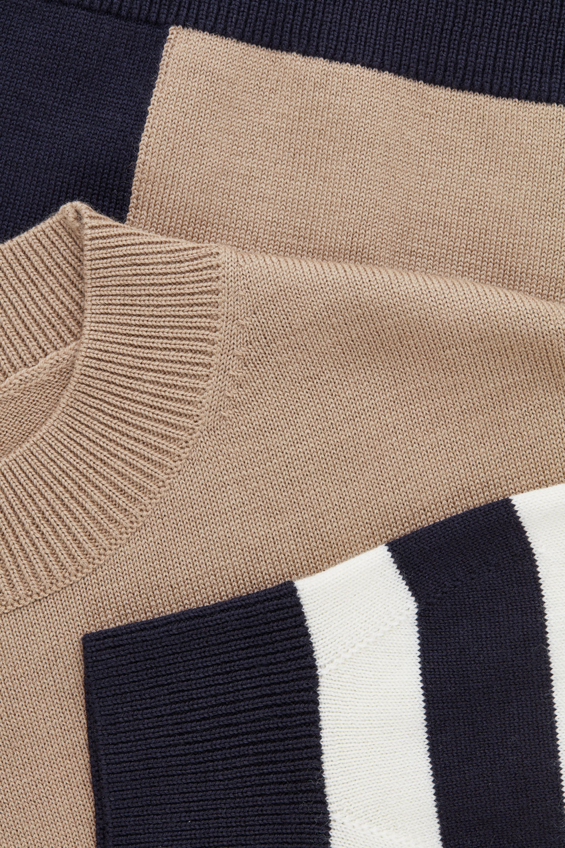 Side image of Cos colour-block wool jumper in beige