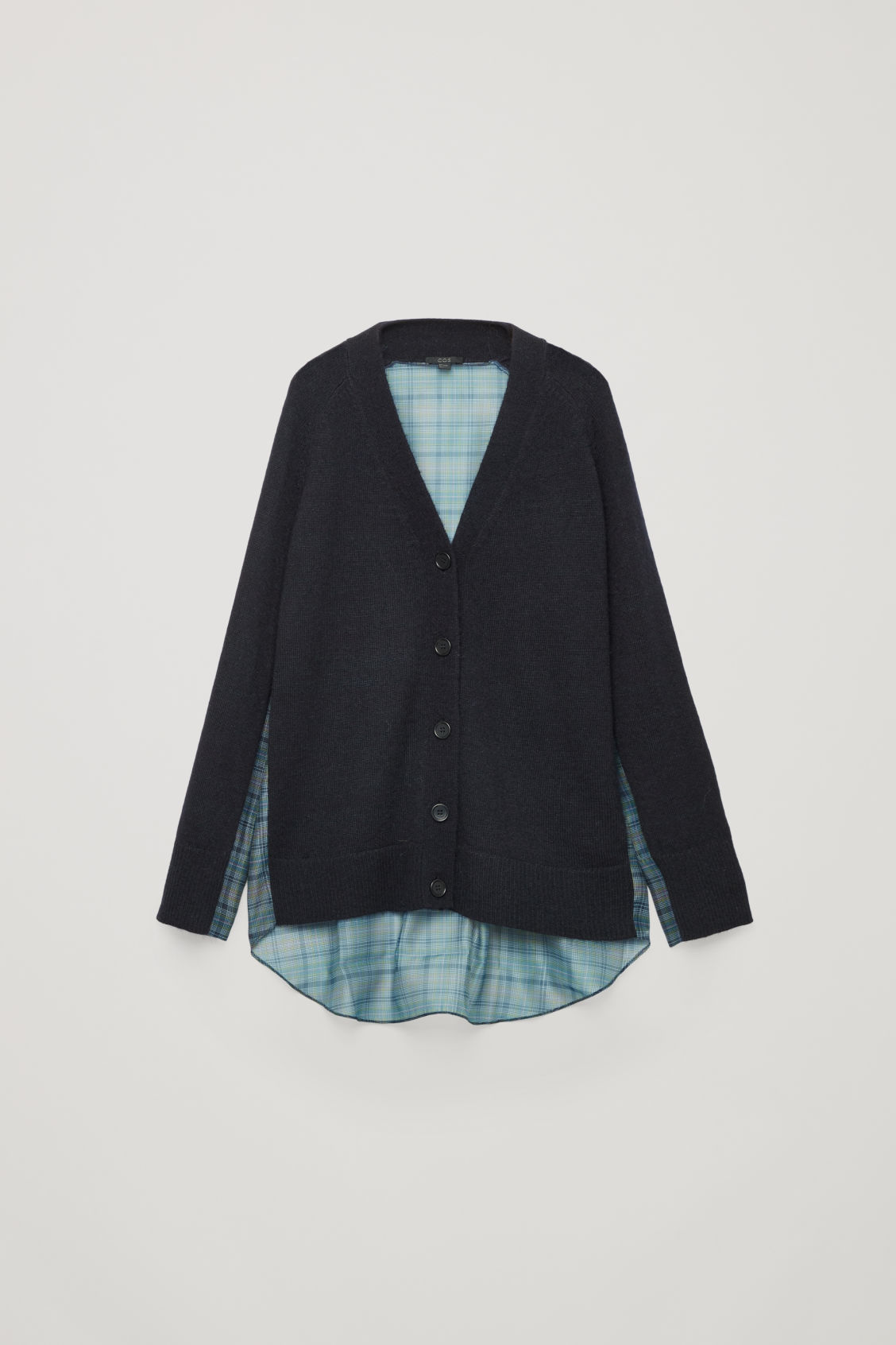 Front image of Cos woven-knit mix cardigan in blue