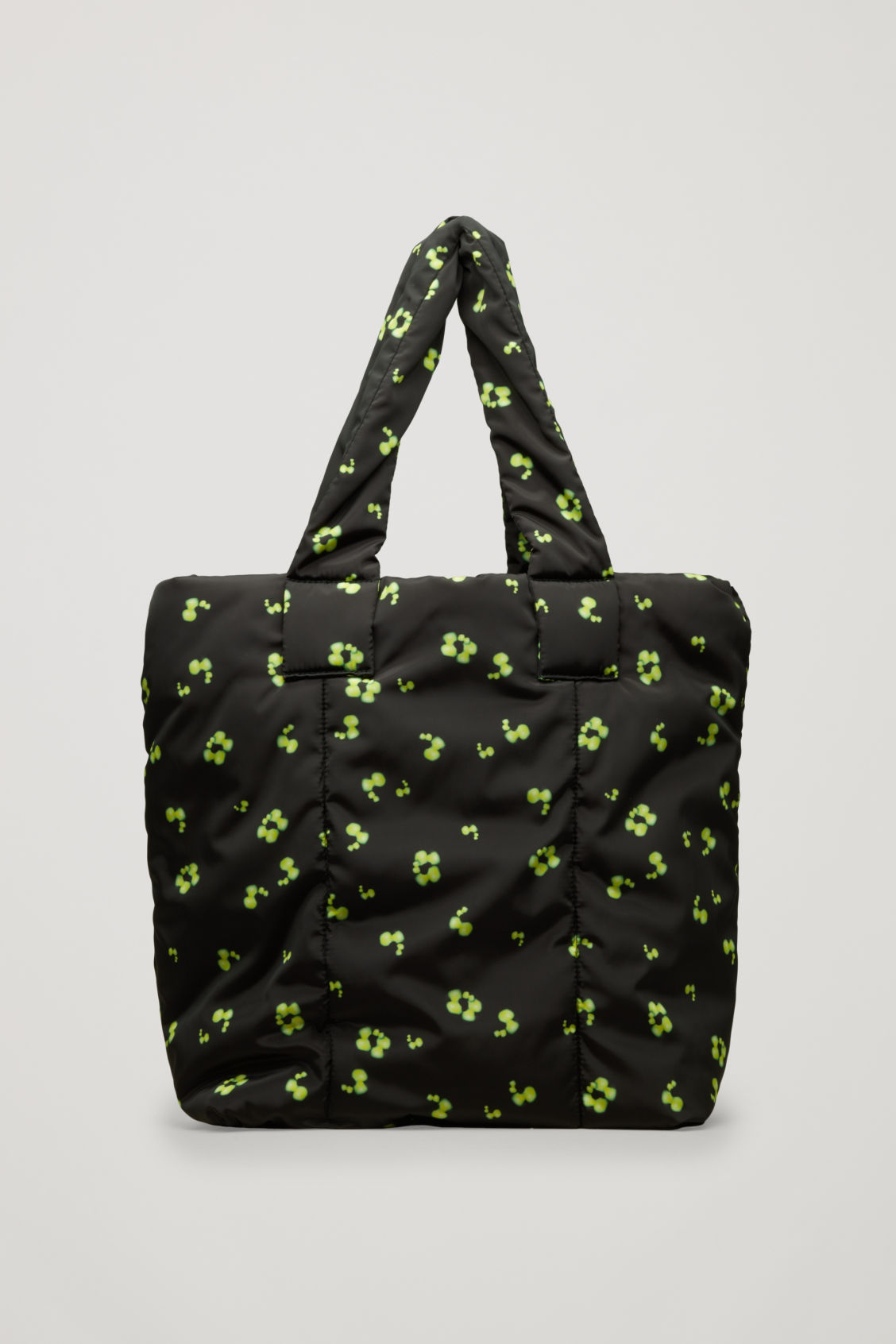 Front image of Cos glow-print padded tote bag in black