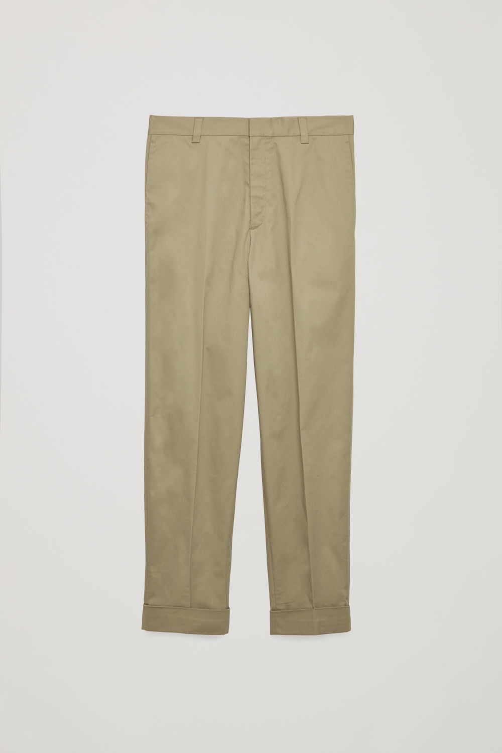 Front image of Cos cotton press-folds chinos in beige