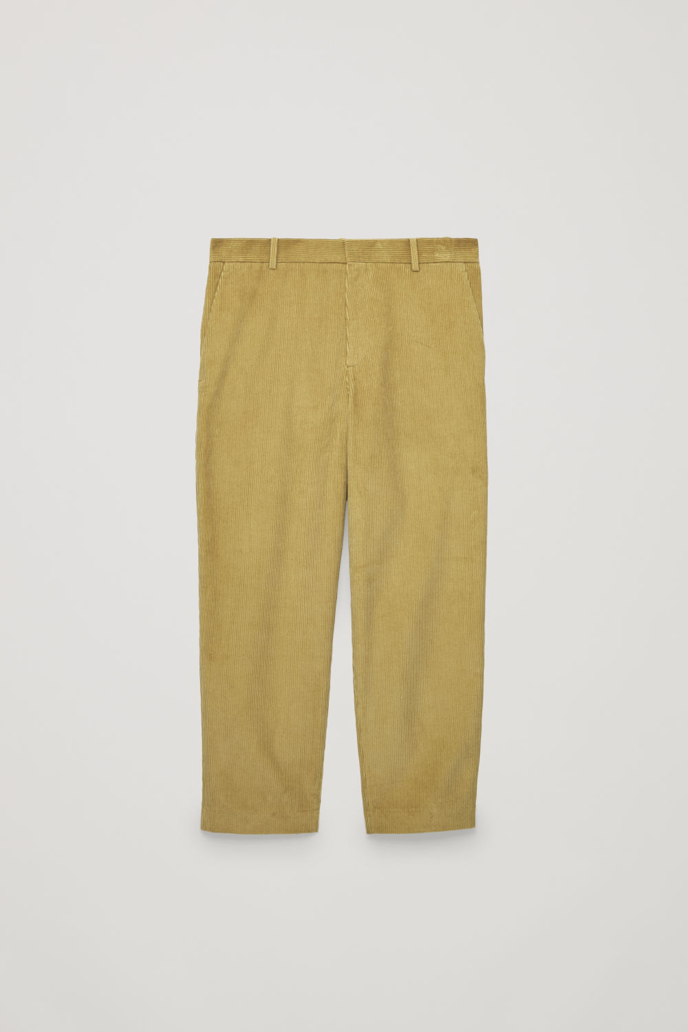 Front image of Cos cropped corduroy trousers in yellow