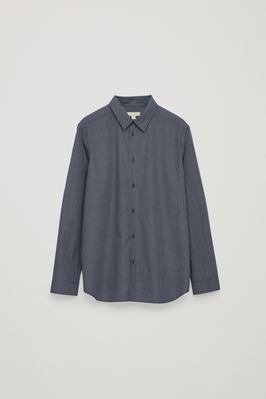 Front image of Cos relaxed micro-checked shirt in blue