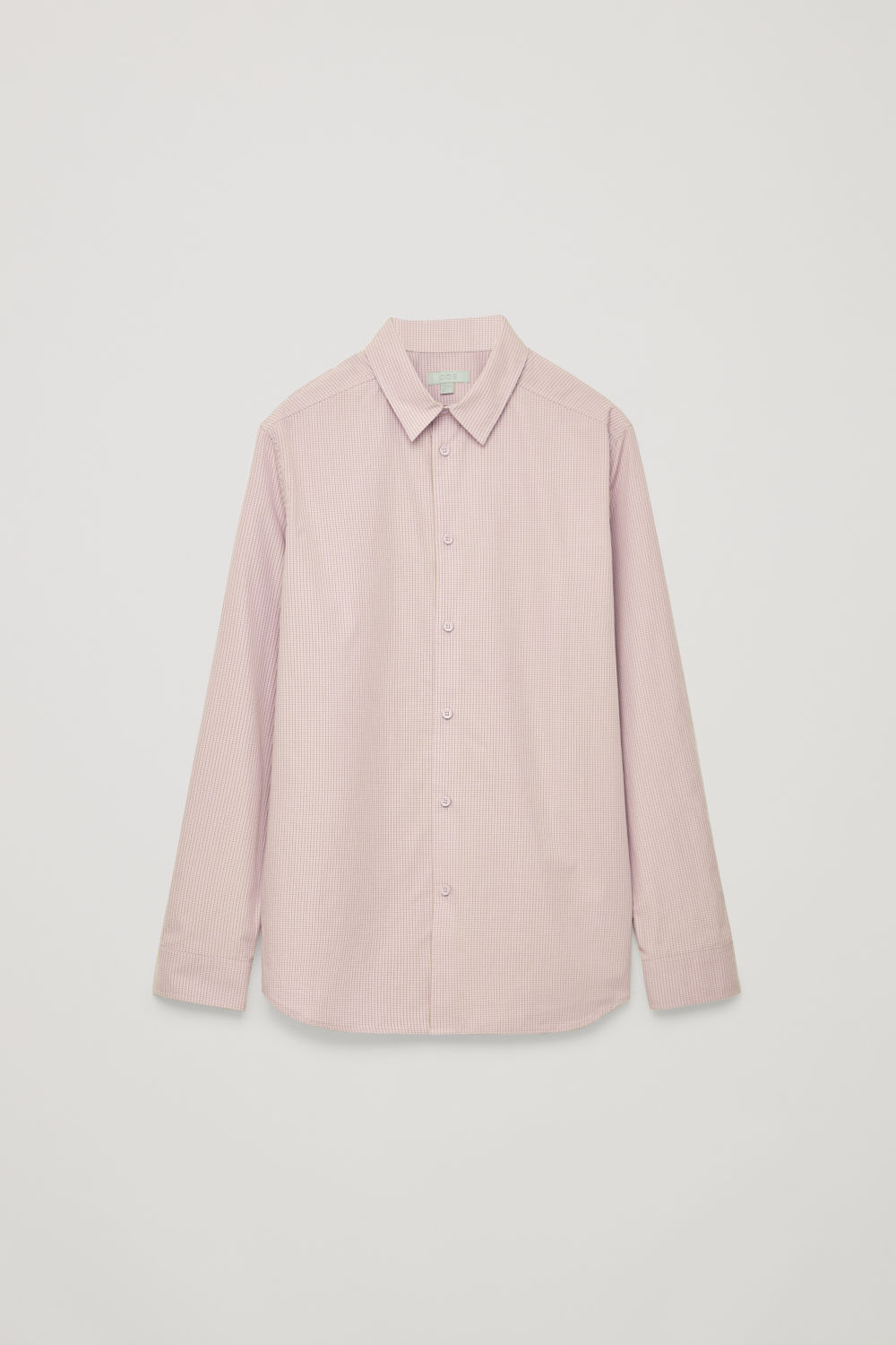 Front image of Cos relaxed checked cotton shirt in pink
