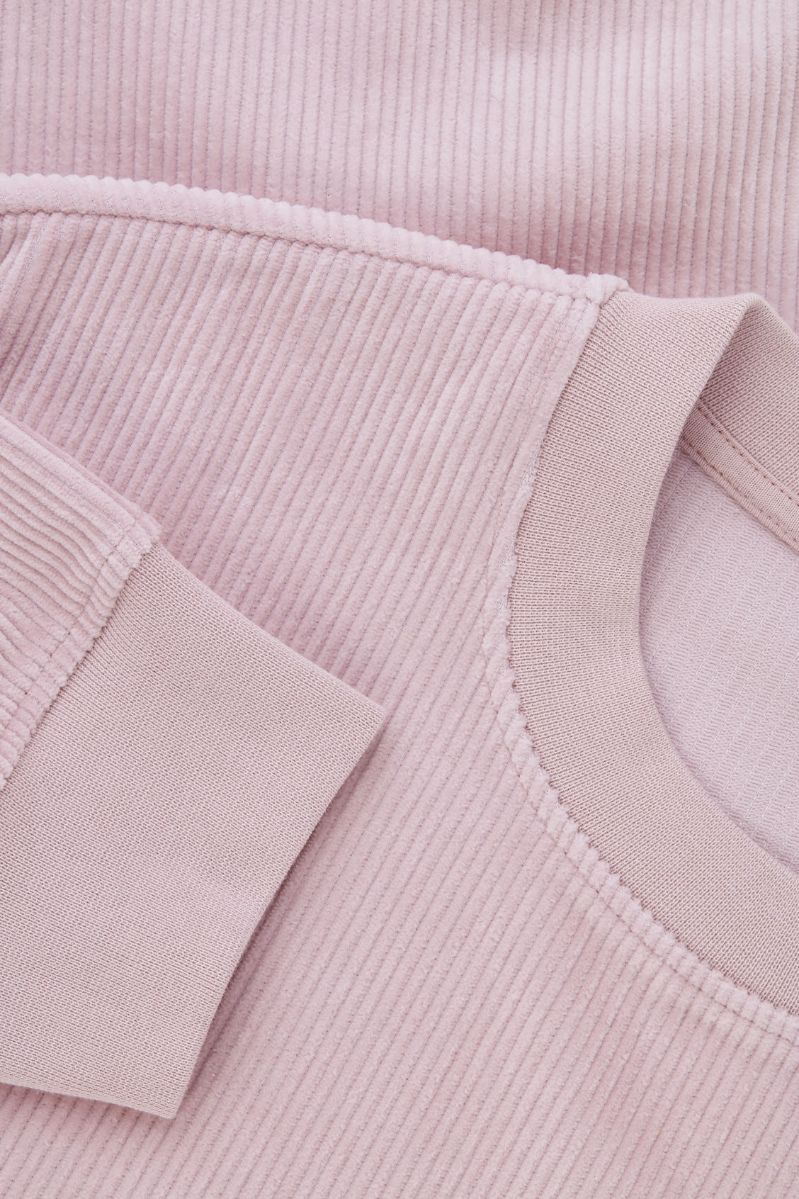 Side image of Cos corduroy sweatshirt in pink