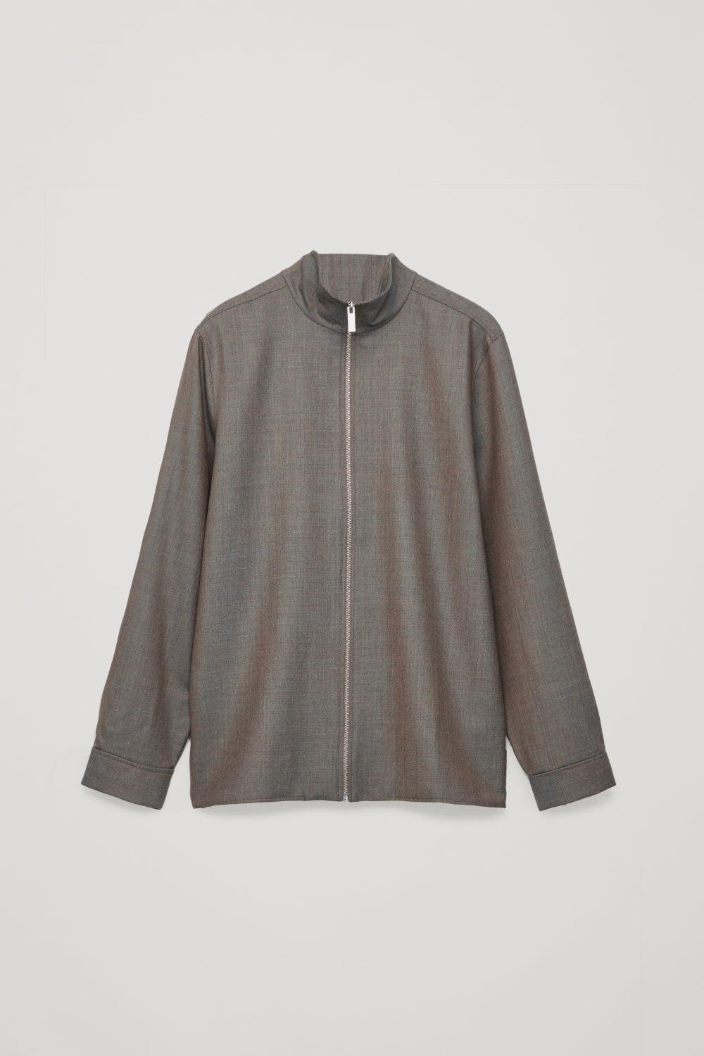 Front image of Cos wool-melange zip-up shirt in brown