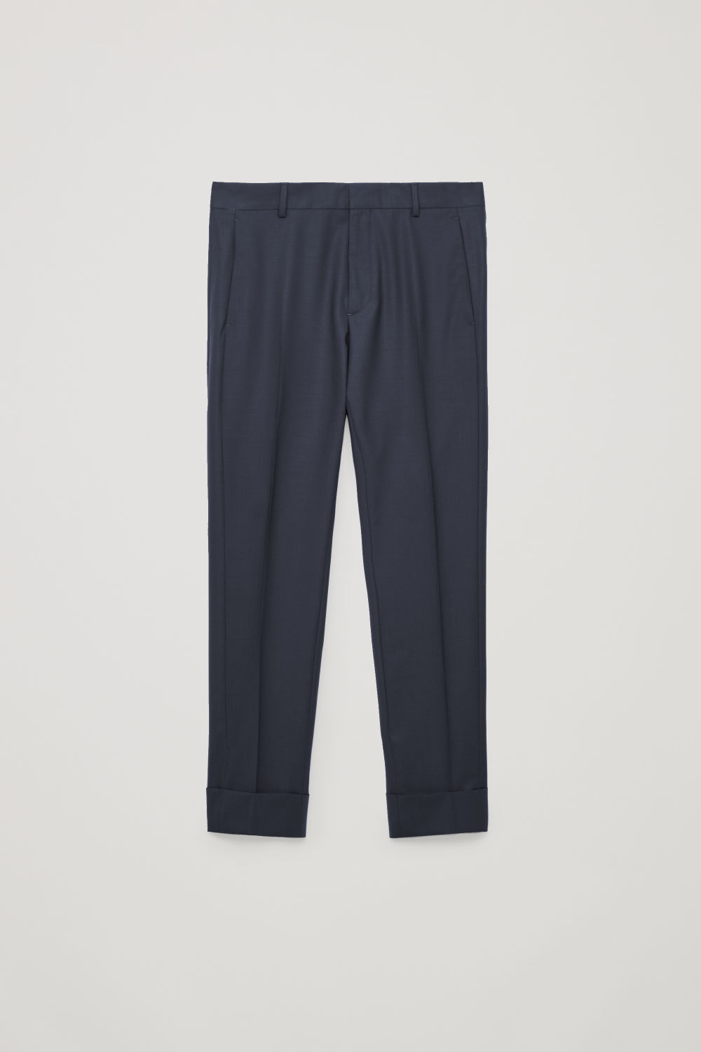 Front image of Cos slim trousers with side panels in blue