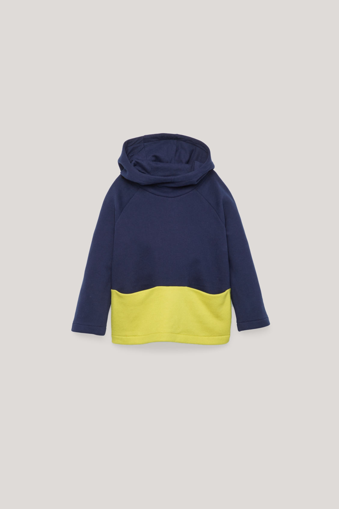 Front image of Cos colour-block jersey hoodie in blue