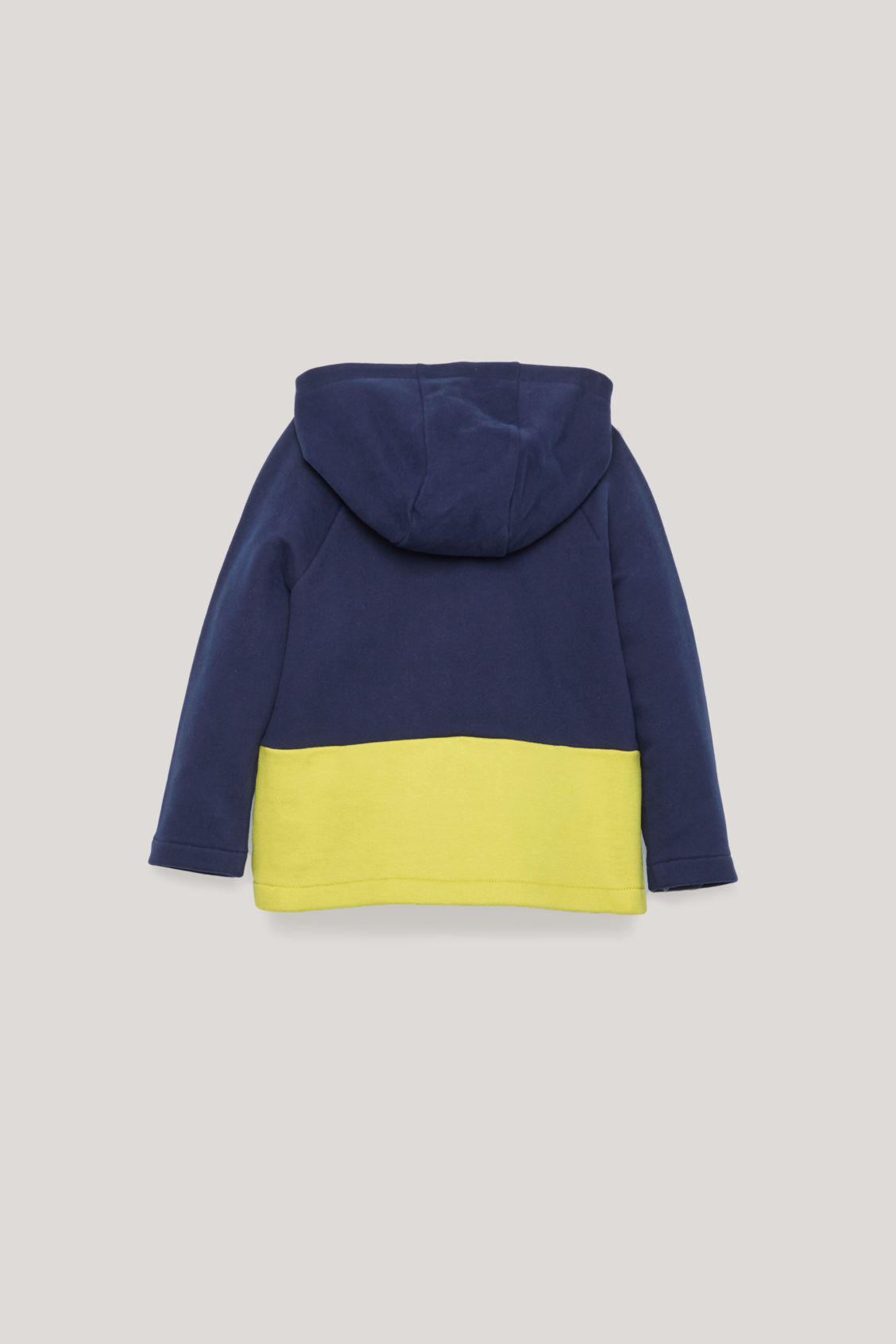 Side image of Cos colour-block jersey hoodie in blue