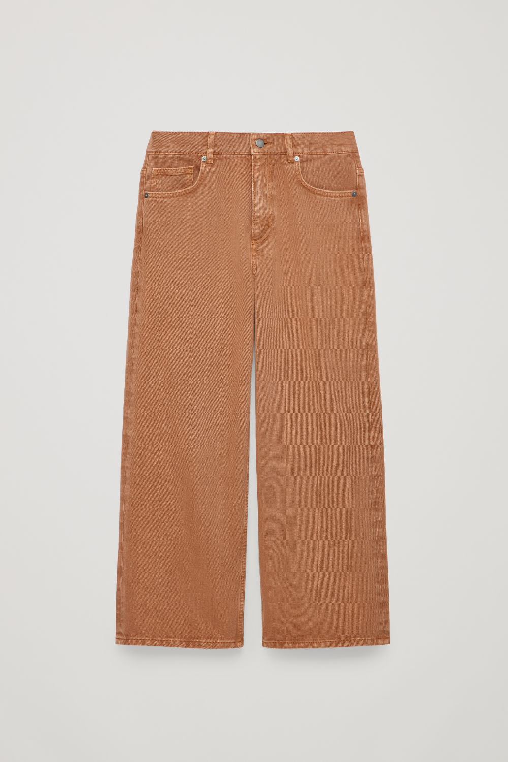 Front image of Cos 27 inch wide crop jeans in brown