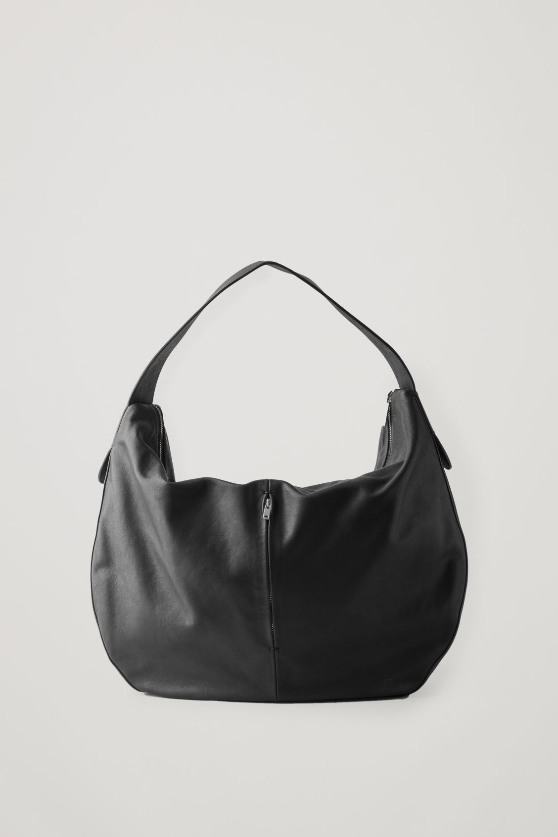 Front image of Cos large leather shopper in black