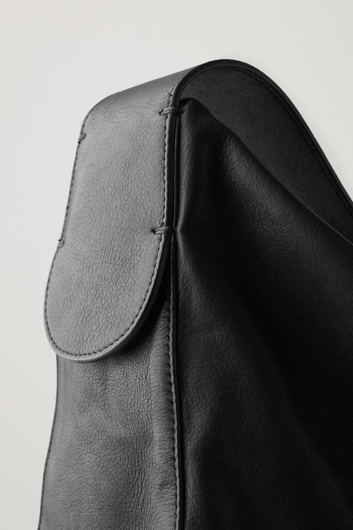 Side image of Cos large leather shopper in black