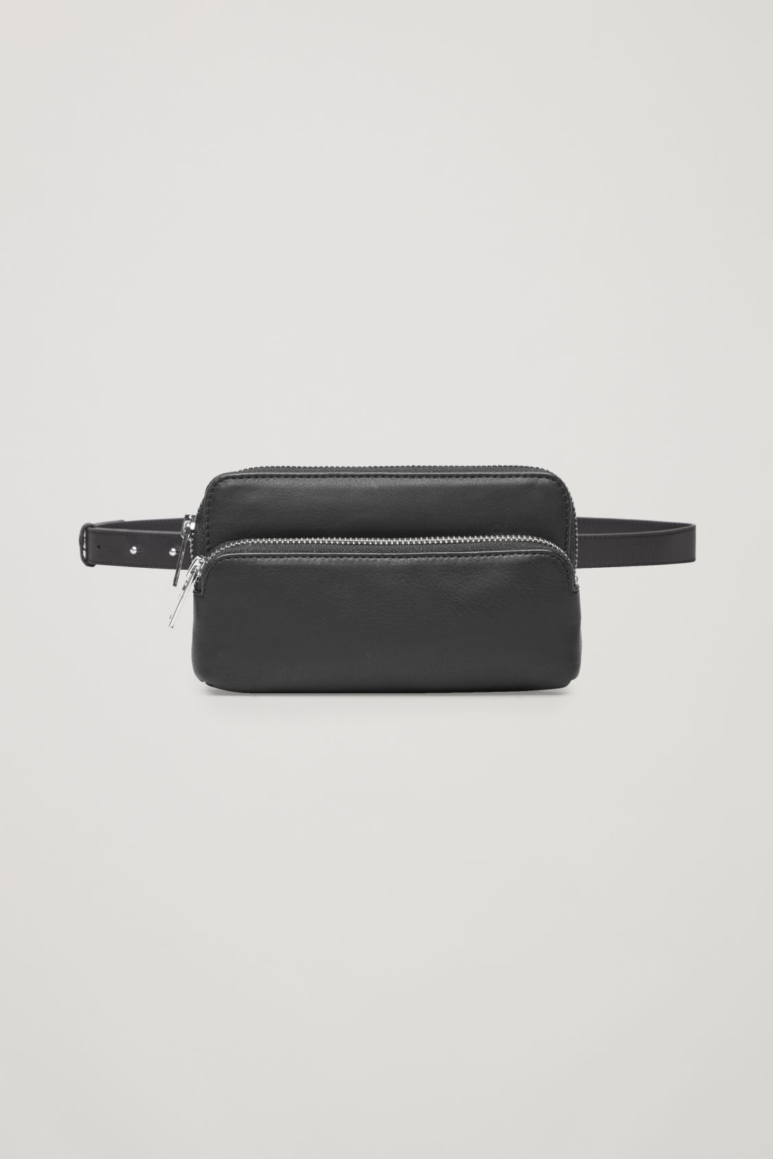 Front image of Cos leather purse belt bag  in black