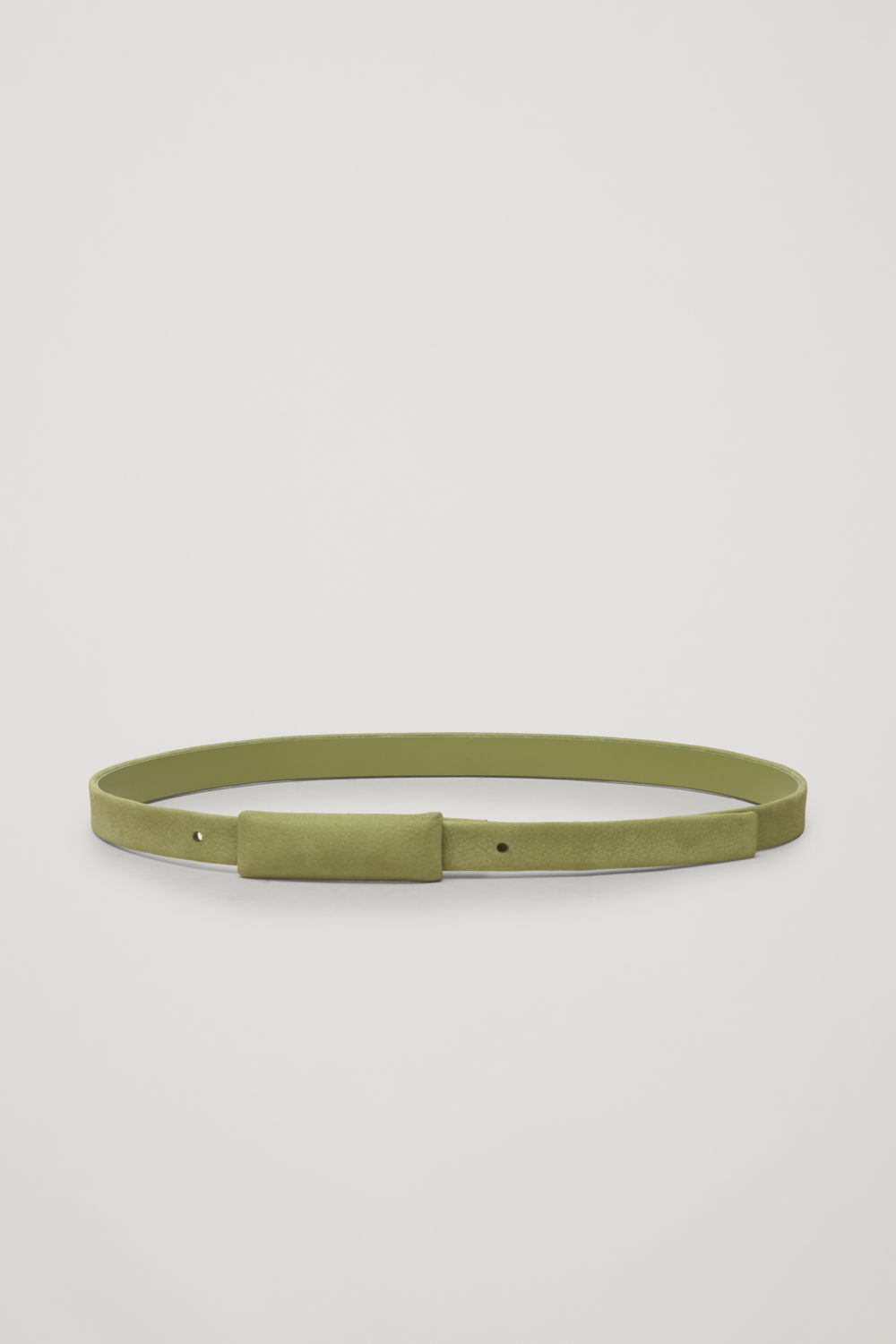 COVERED-BUCKLE NUBUCK LEATHER BELT