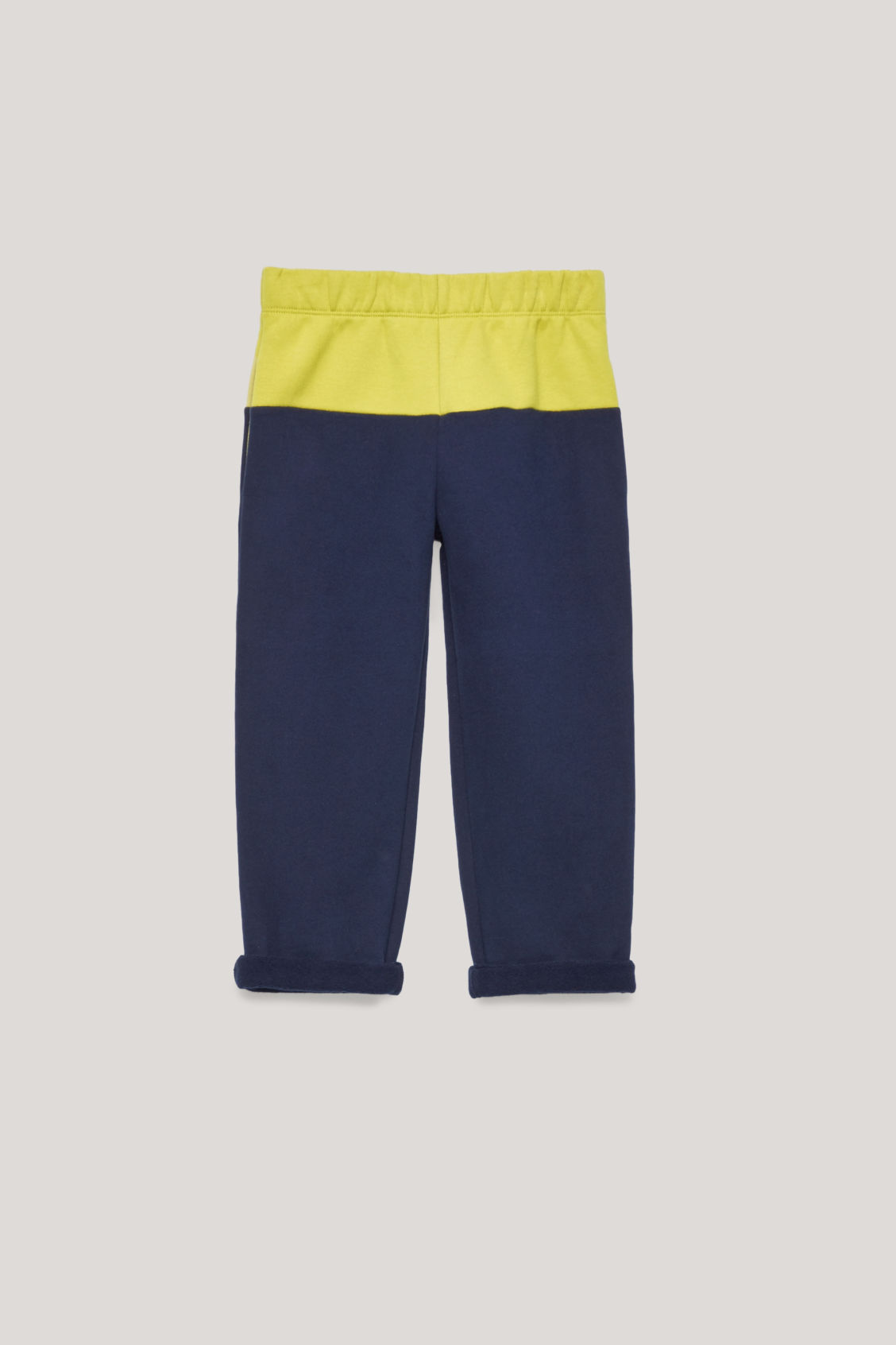 Front image of Cos colour-block jersey trousers in blue