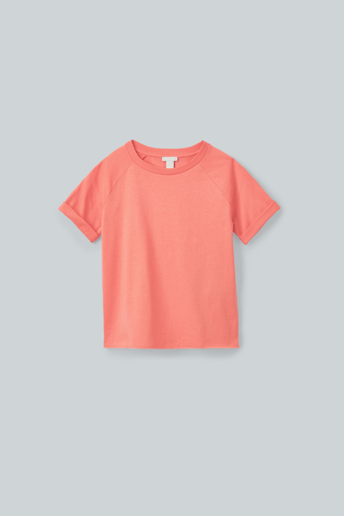 Front image of Cos raglan-sleeved cotton t-shirt in orange