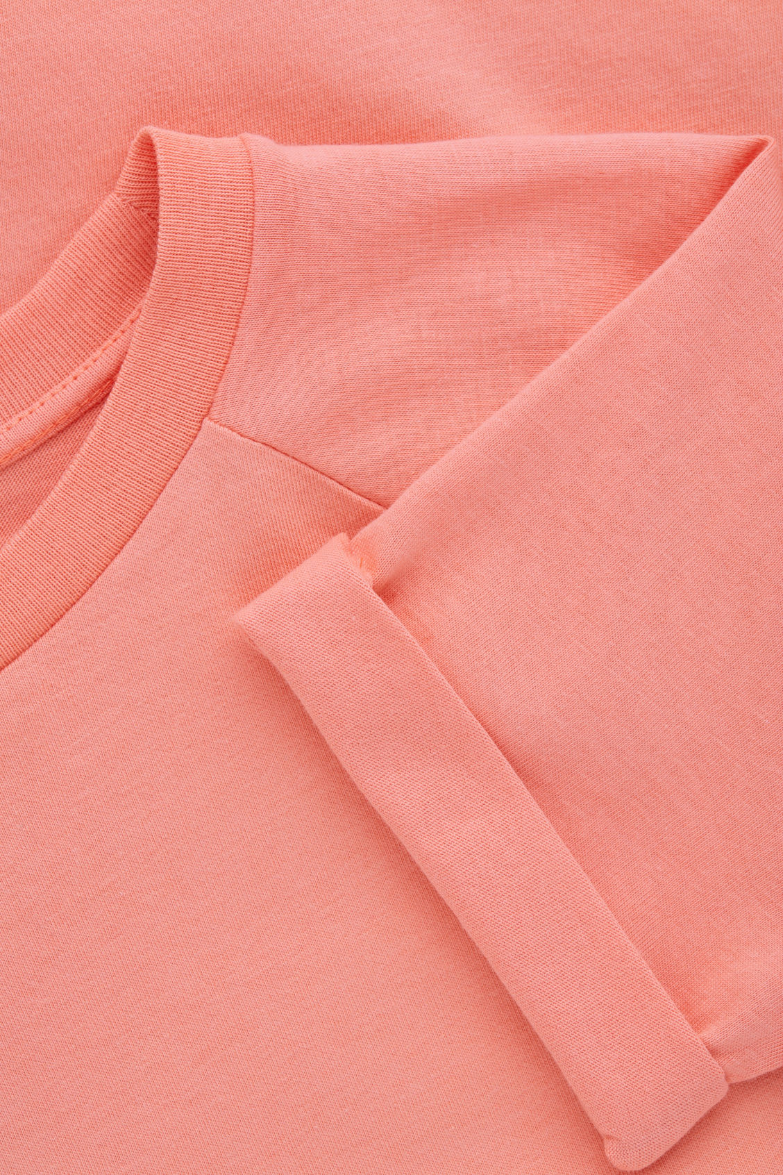 Side image of Cos raglan-sleeved cotton t-shirt in orange