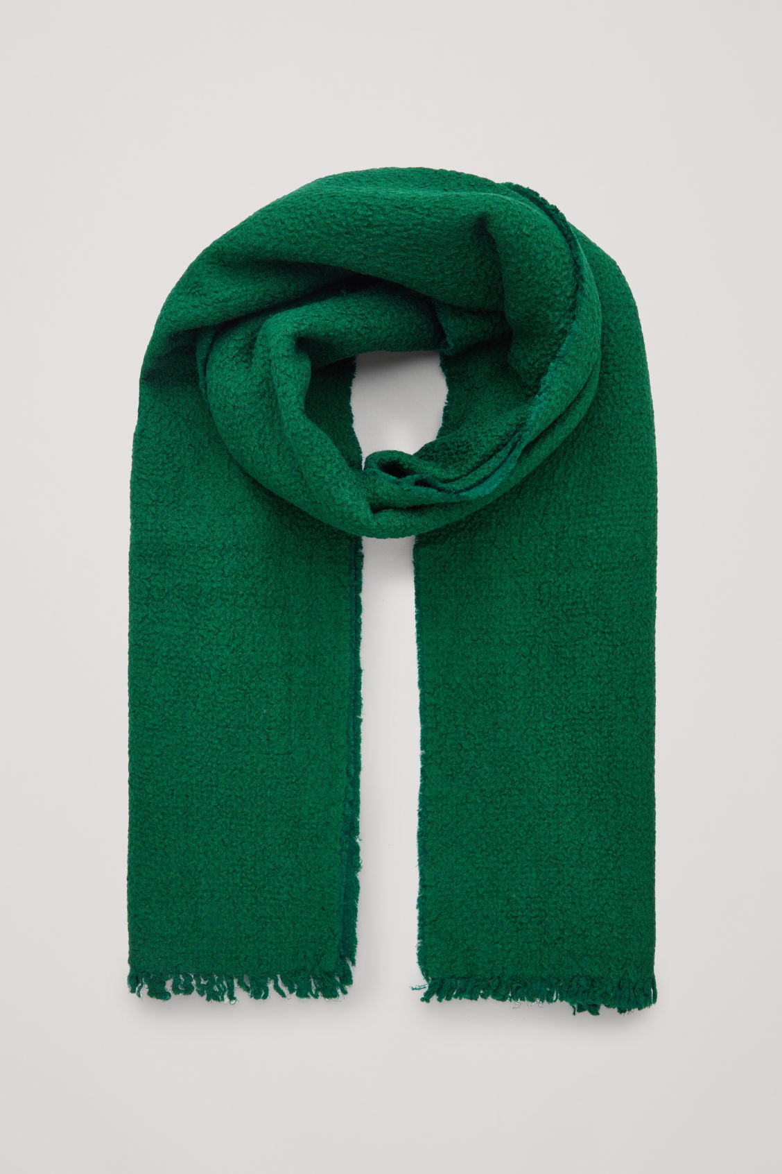 Front image of Cos textured wool-silk scarf in green