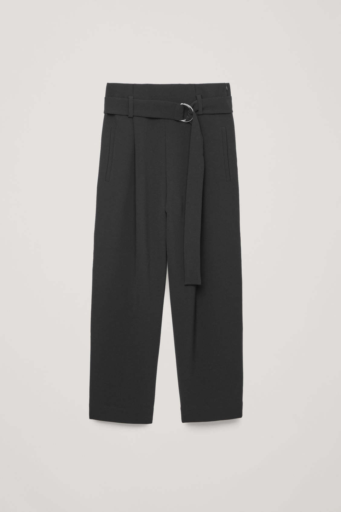 Front image of Cos d-ring belted paperbag trousers in black