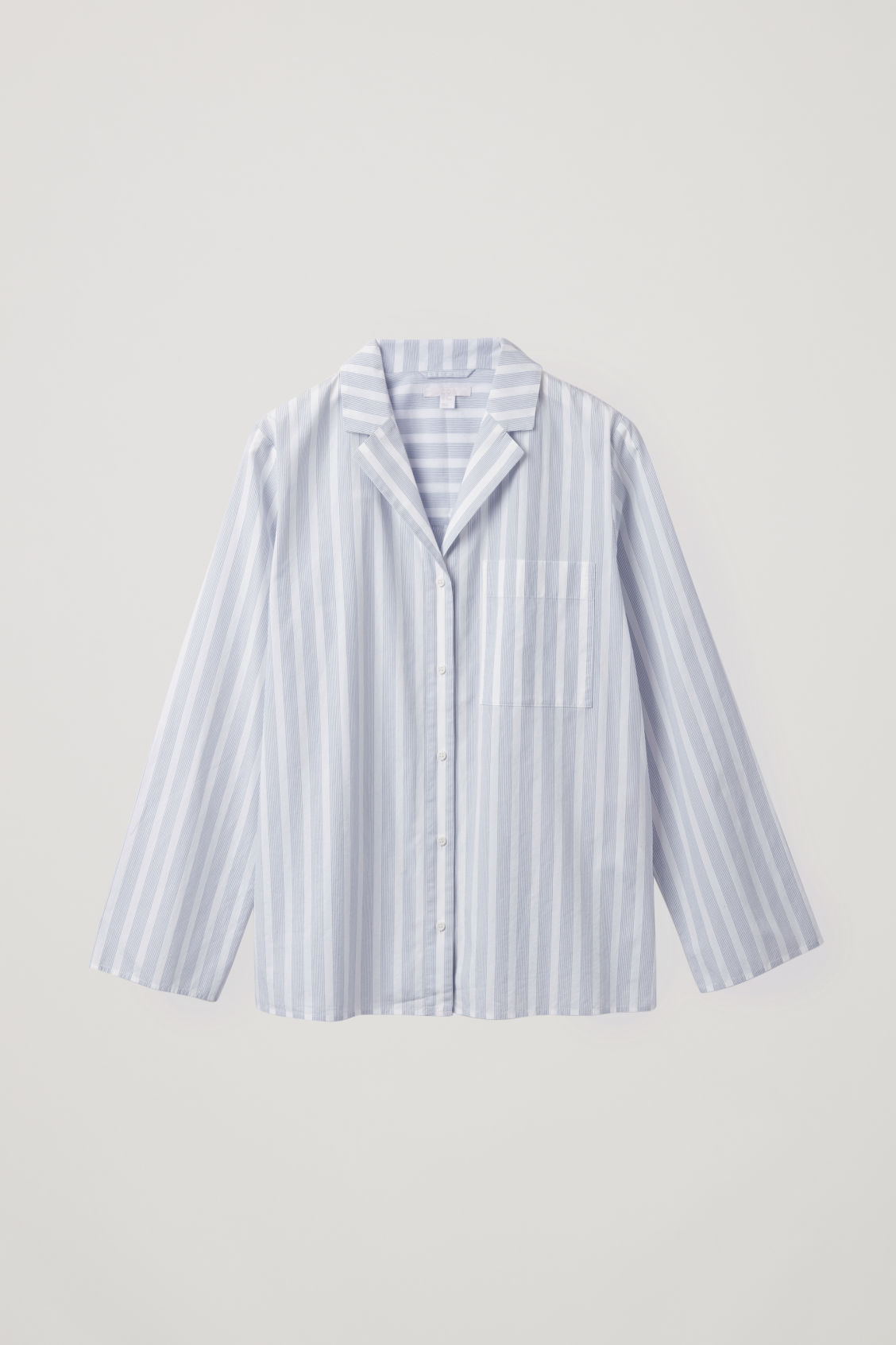 Front image of Cos lapel-collar striped pyjama shirt in white