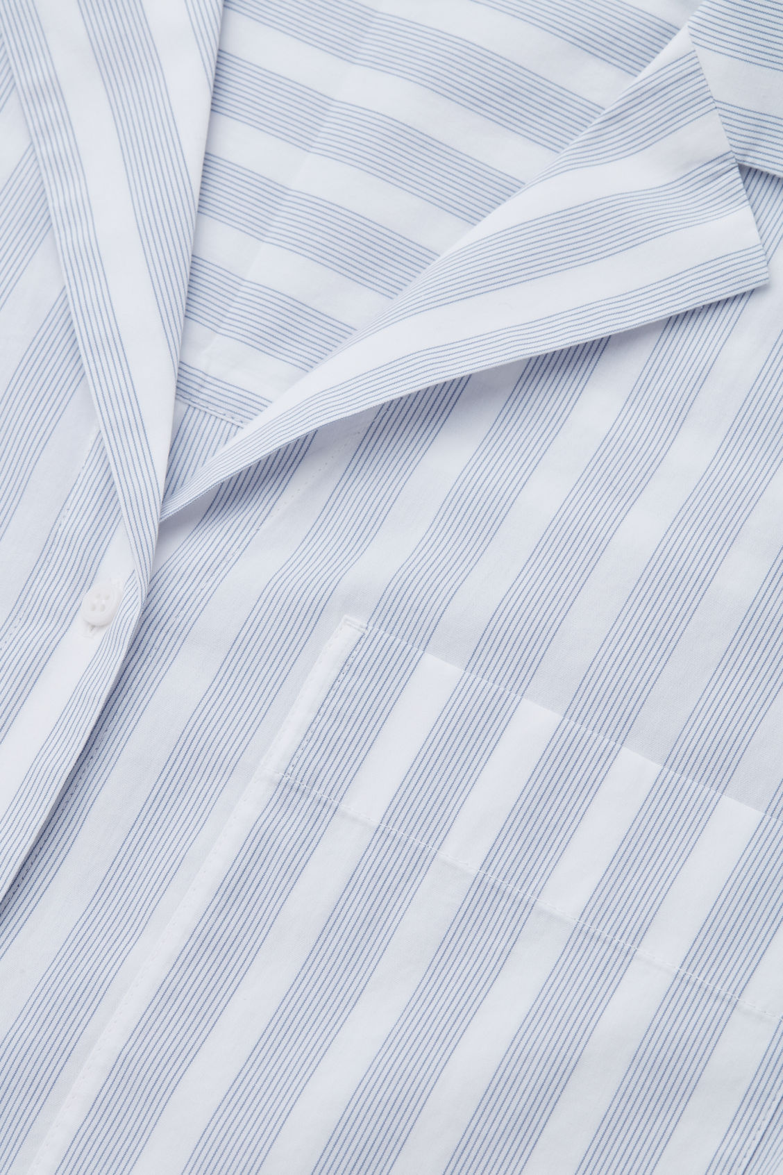 Side image of Cos lapel-collar striped pyjama shirt in white