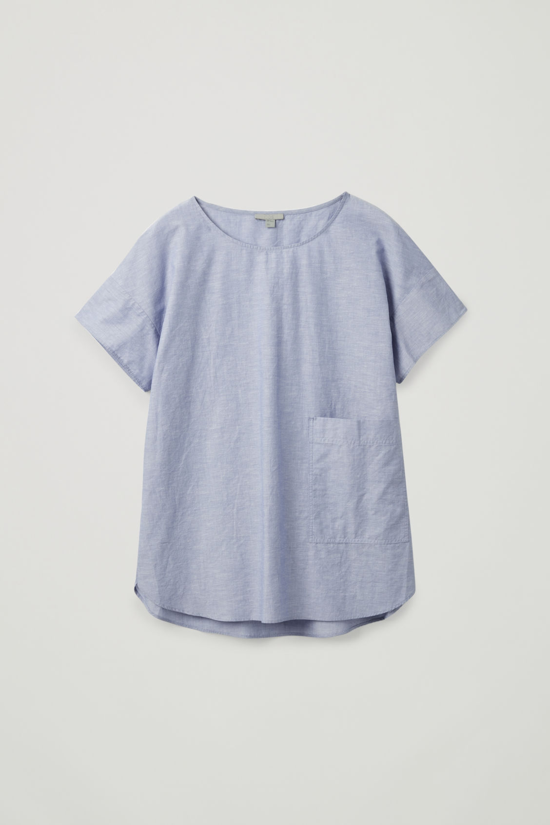 Front image of Cos oversized cotton-linen top in blue
