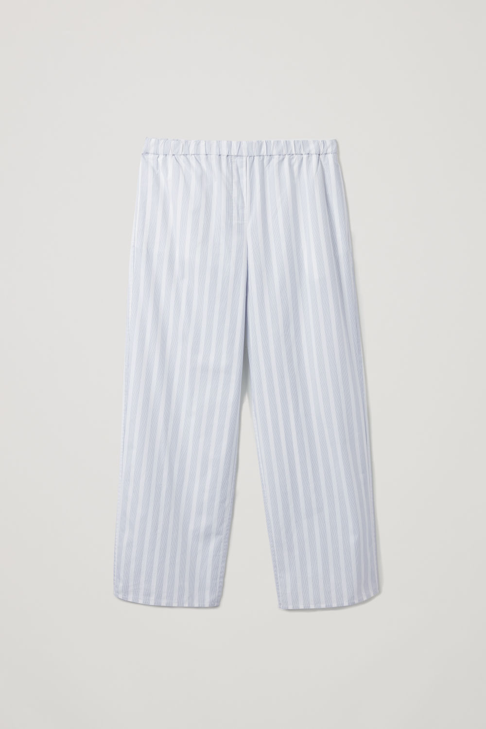 Front image of Cos striped pyjama trousers in white