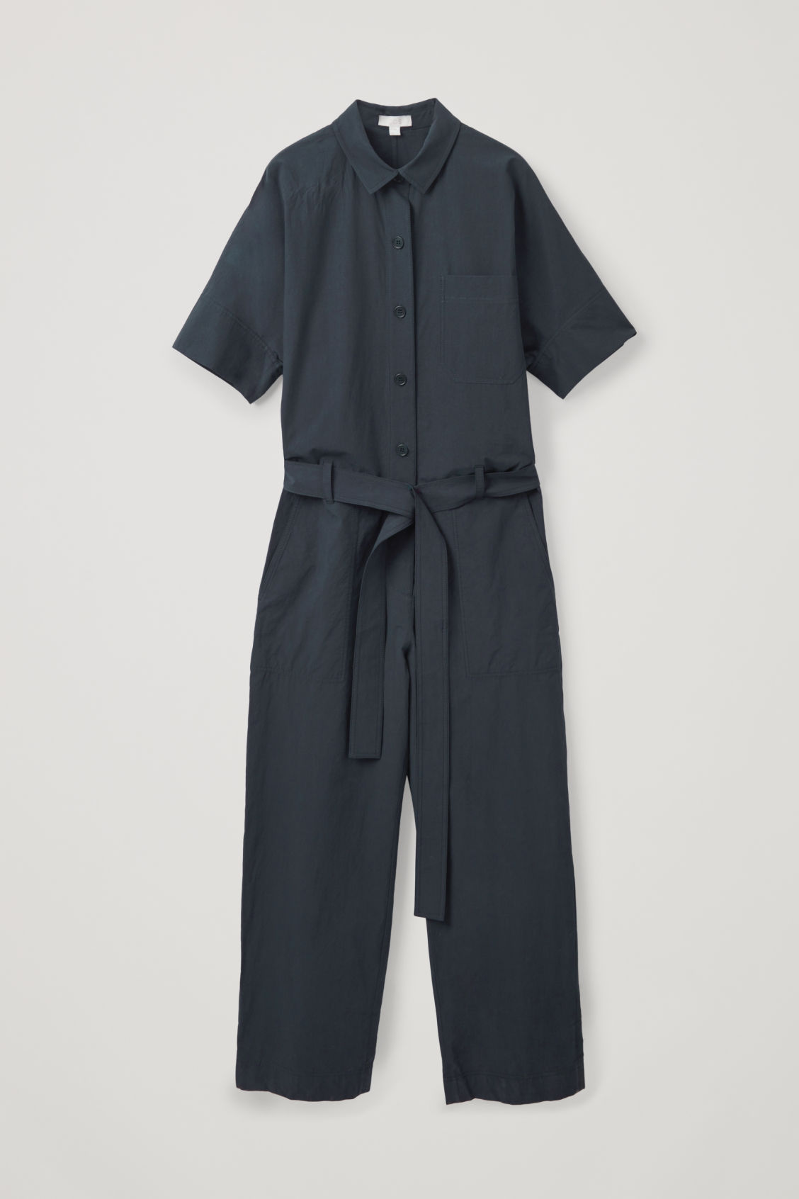 Front image of Cos belted workwear jumpsuit  in black