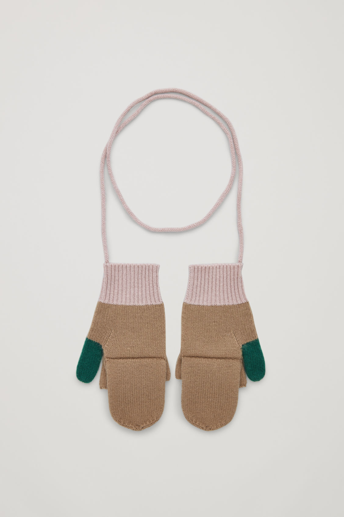 Front image of Cos cashmere colour-block mittens in green