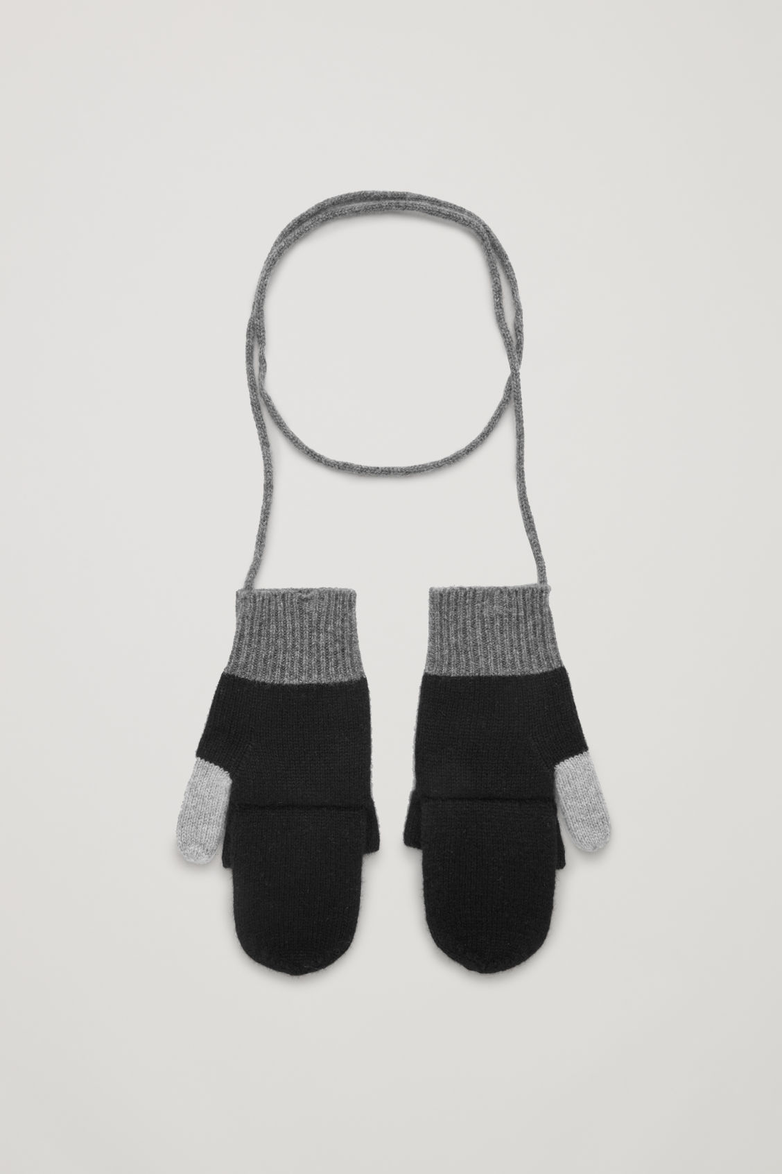 Front image of Cos cashmere colour-block mittens in grey