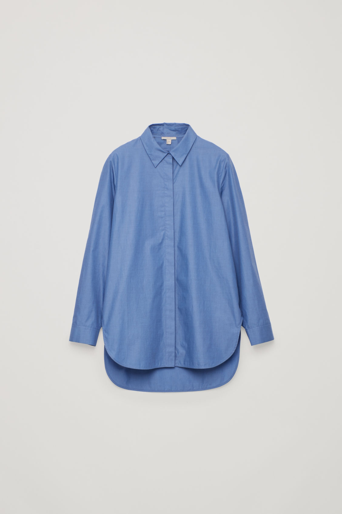 Front image of Cos cocoon shirt  in blue