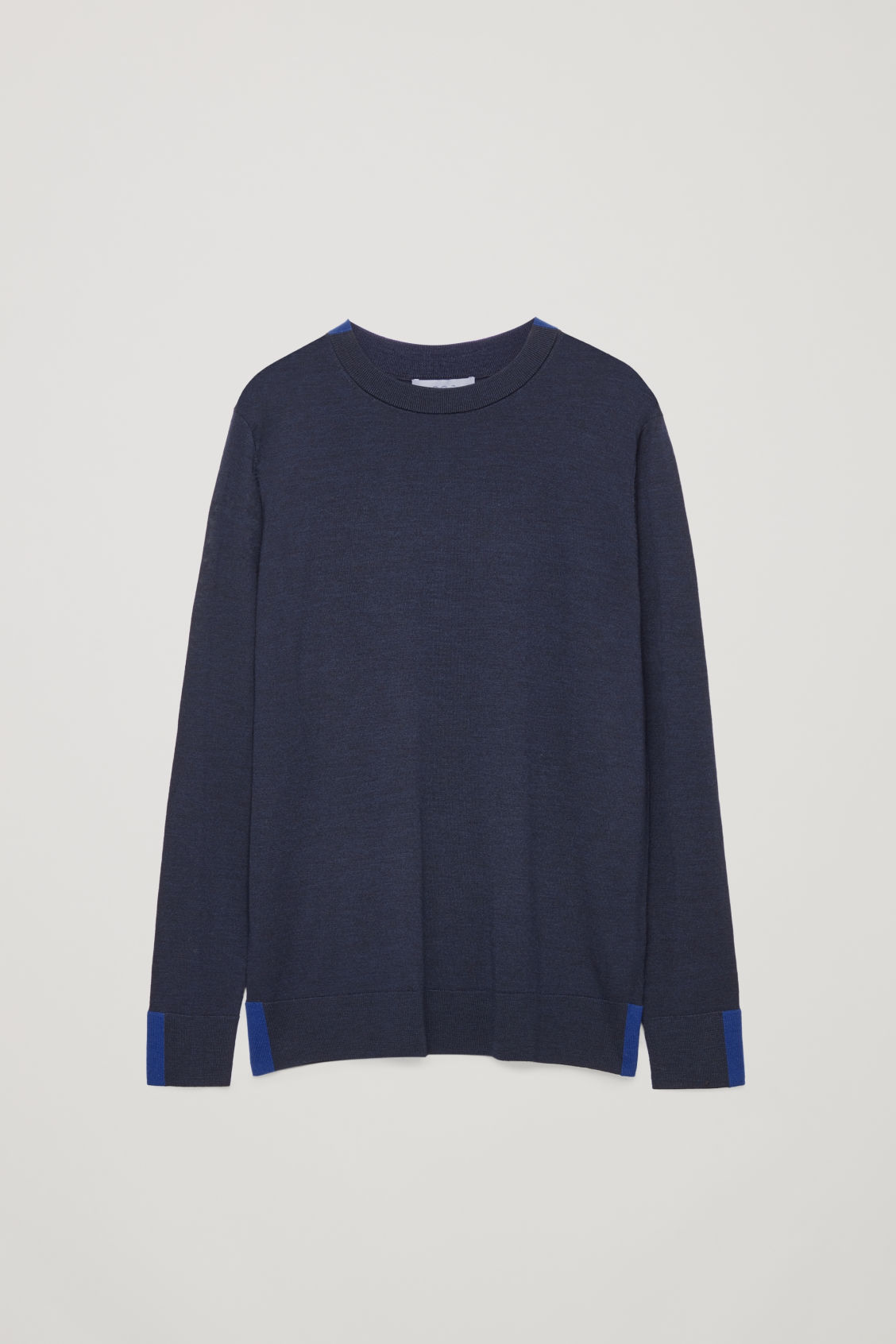 Front image of Cos merino jumper with trim detail in blue