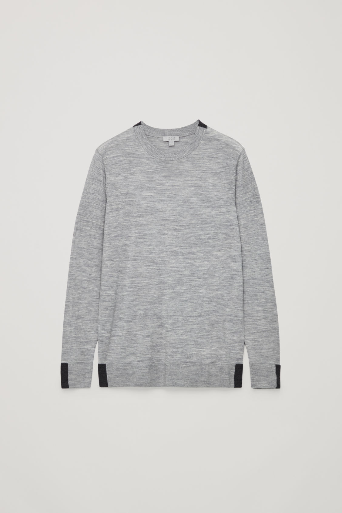 Front image of Cos merino jumper with trim detail in grey