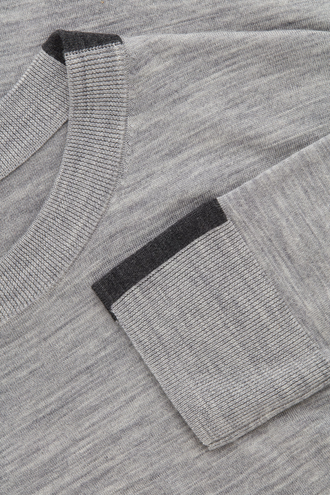 Side image of Cos merino jumper with trim detail in grey