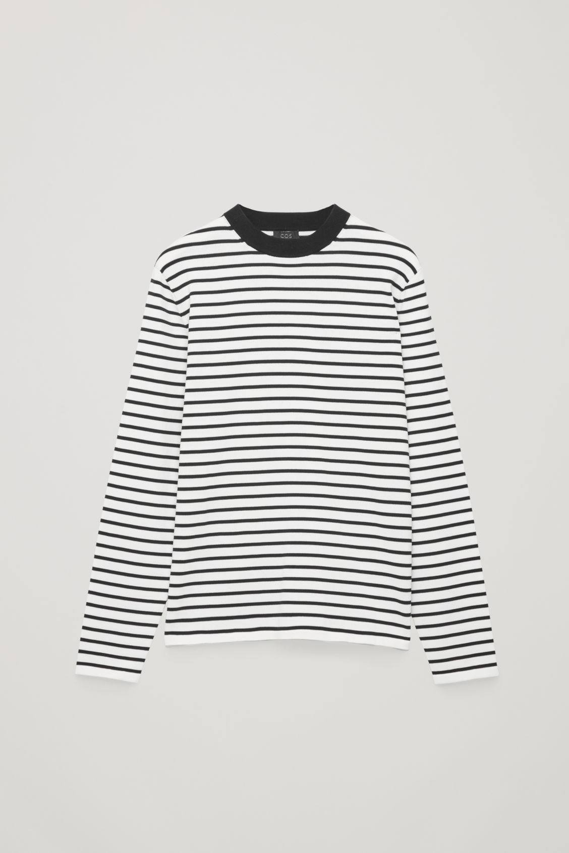 Front image of Cos striped cotton crew-neck jumper in white
