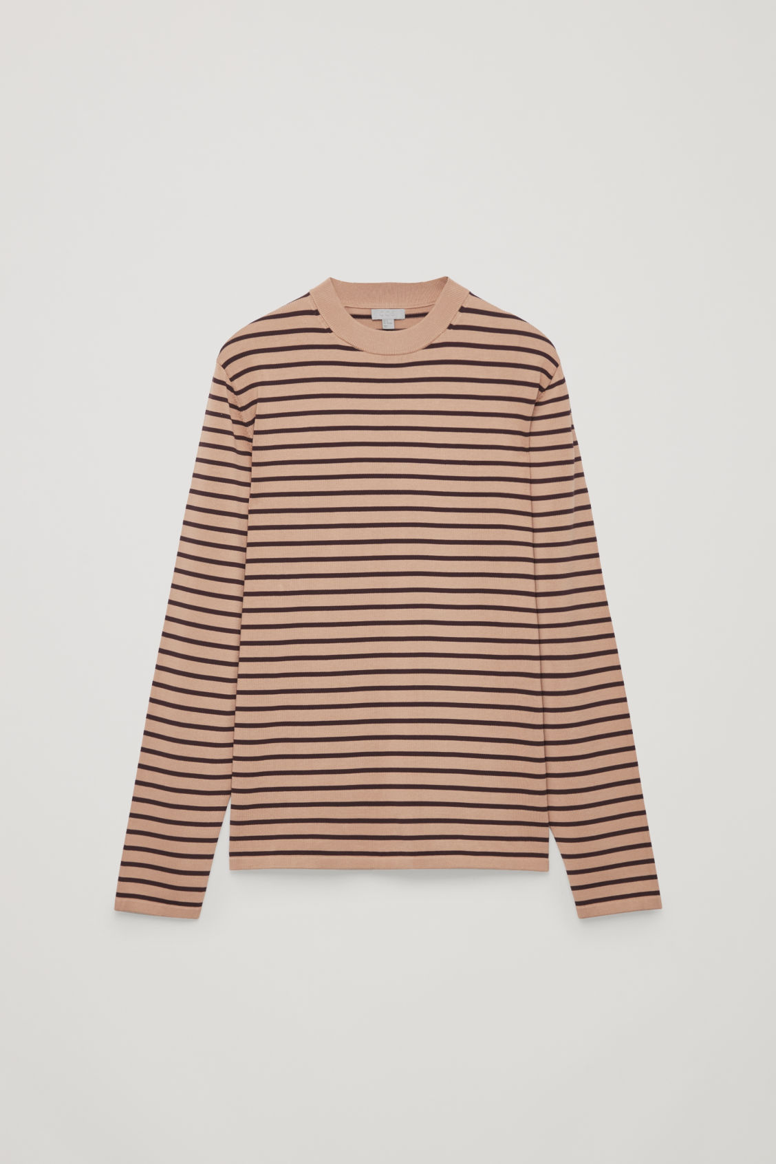 Front image of Cos striped cotton crew-neck jumper in orange