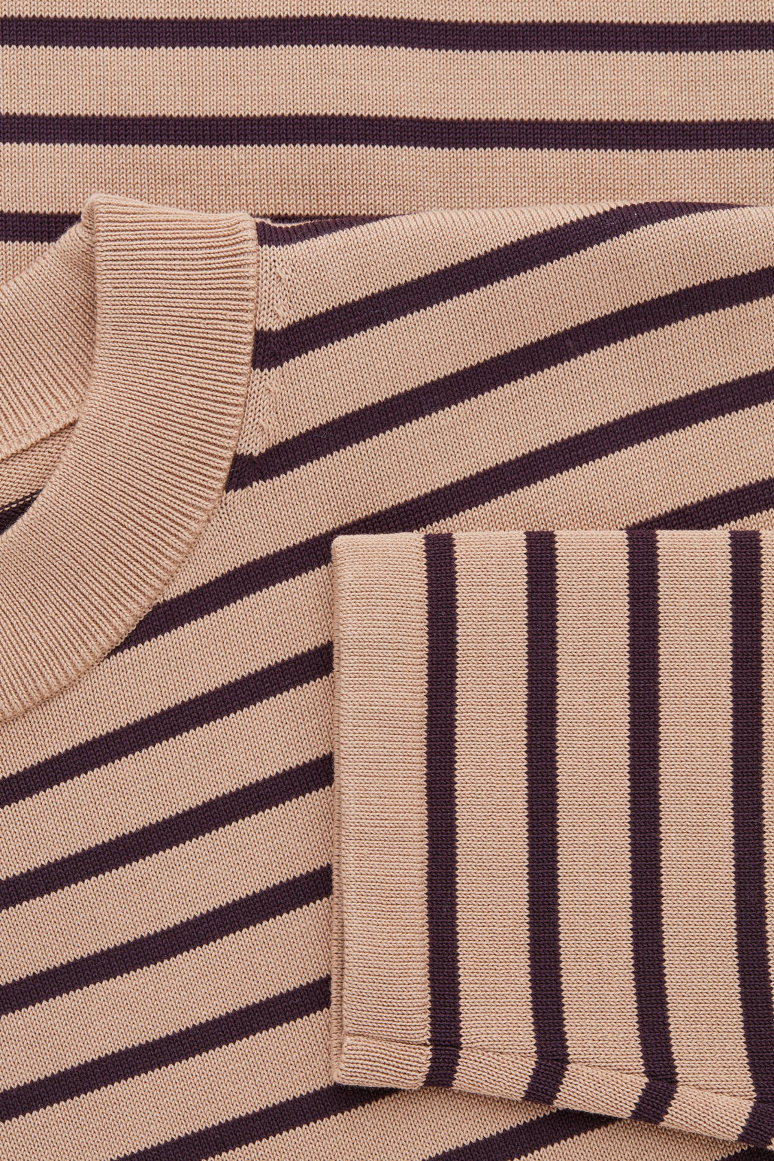 Side image of Cos striped cotton crew-neck jumper in orange