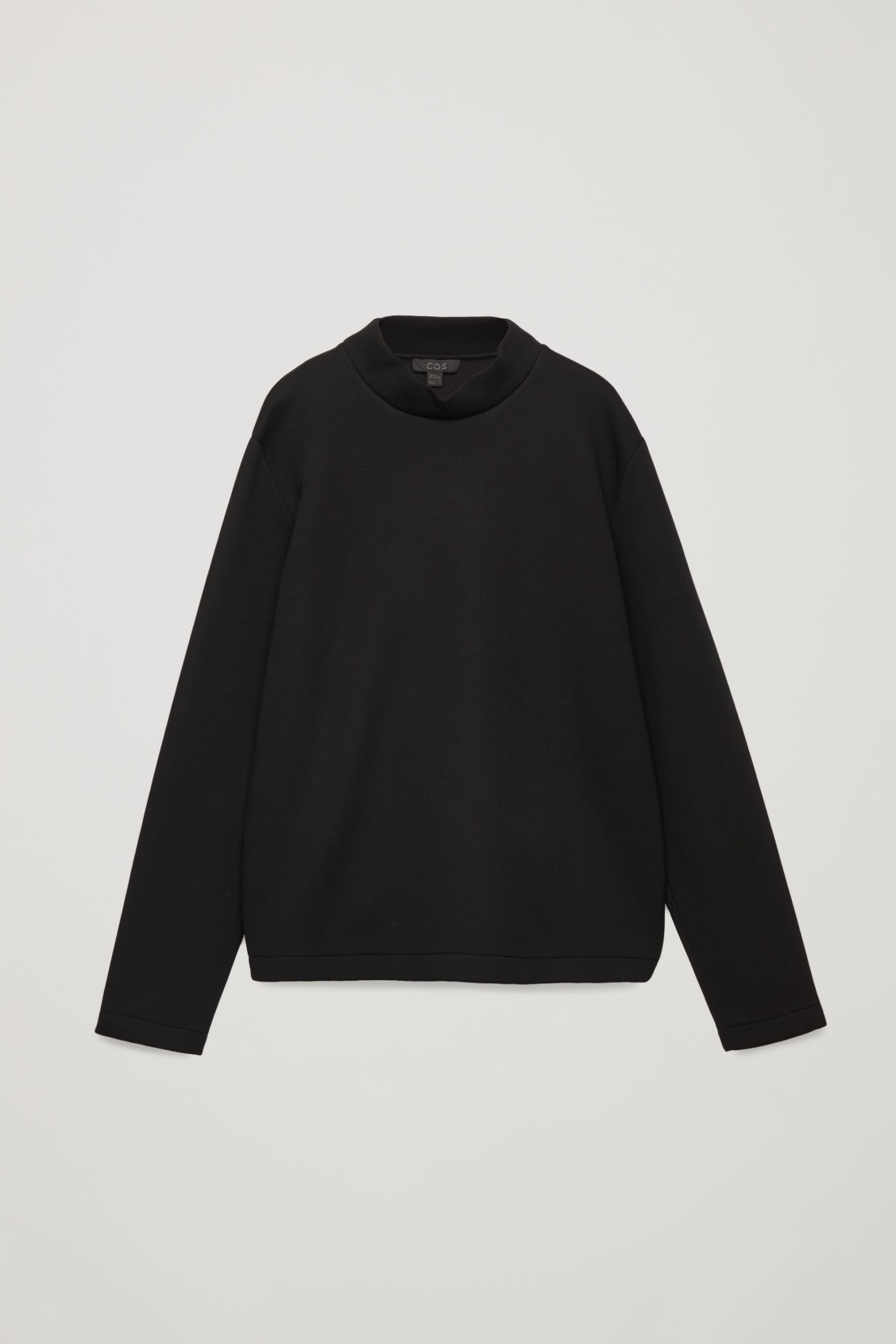 Front image of Cos funnel-neck scuba sweatshirt in black