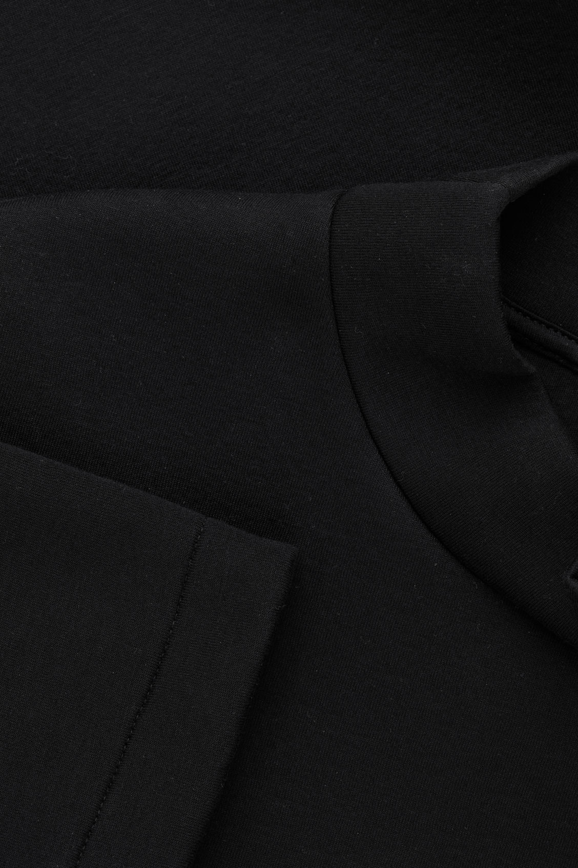 Side image of Cos funnel-neck scuba sweatshirt in black