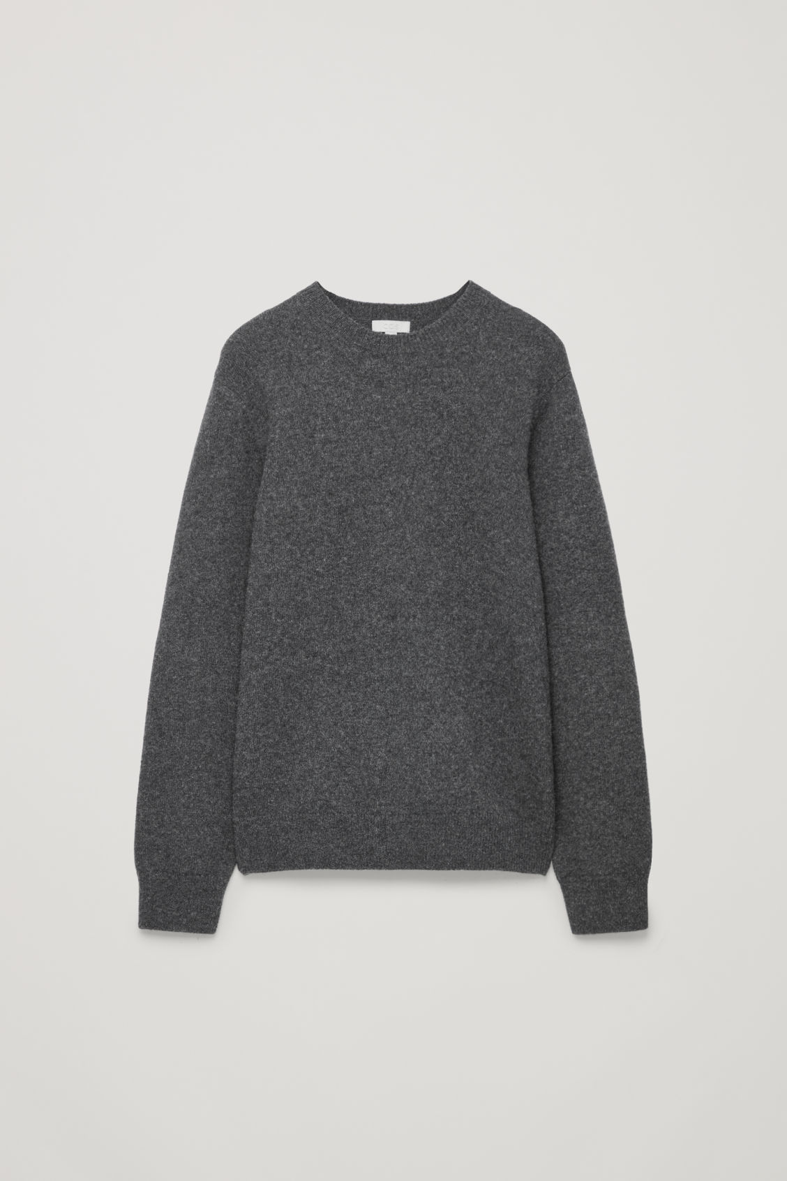 Front image of Cos lambswool jumper with elbow patches in black