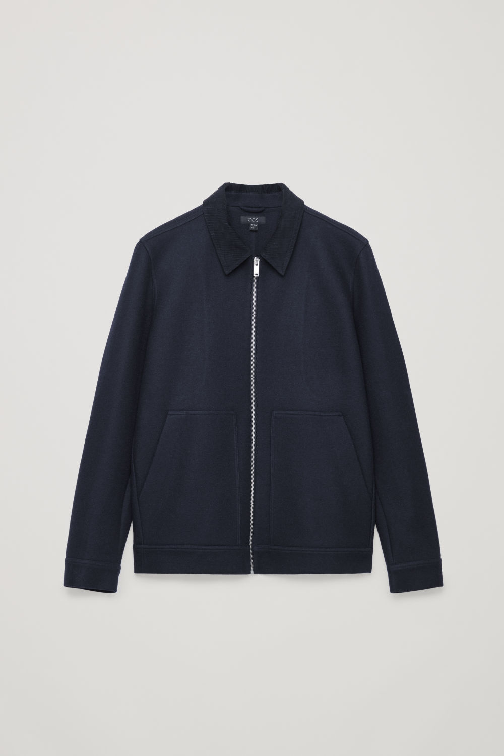 Front image of Cos corduroy-collar wool jacket in blue