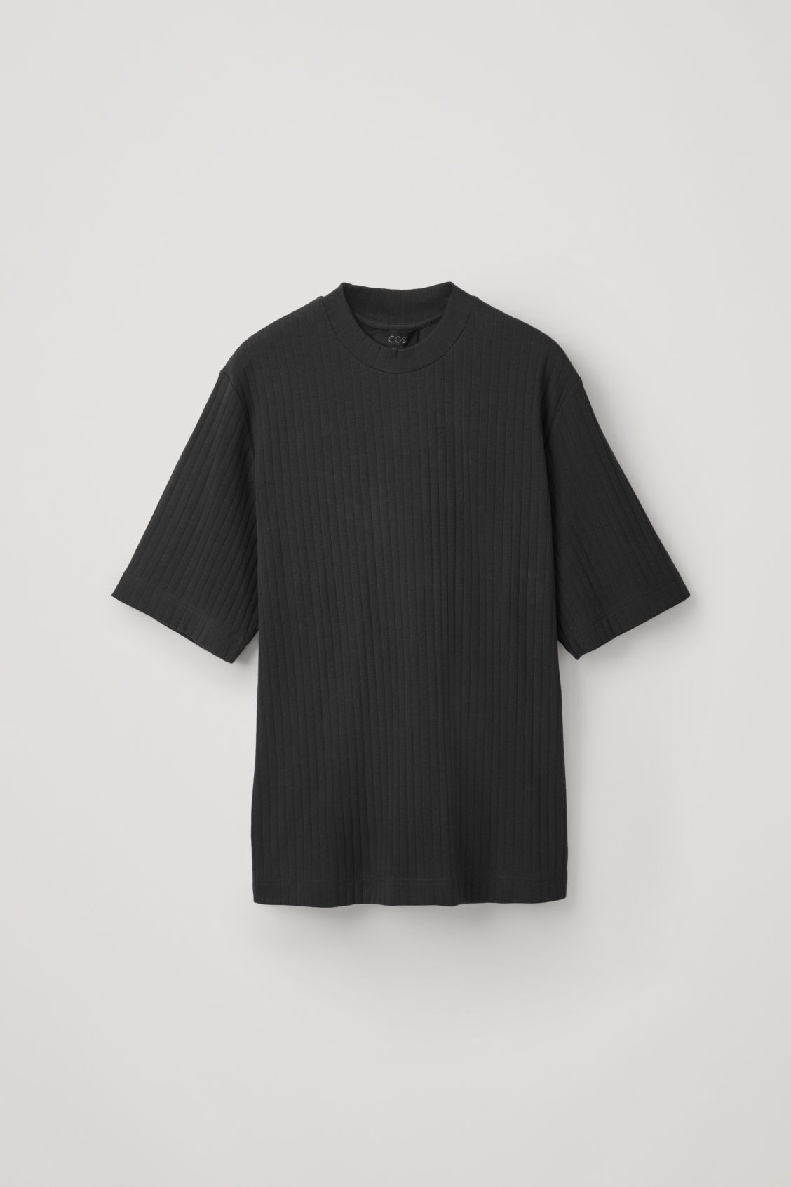 Front image of Cos long organic-cotton rib t-shirt in black